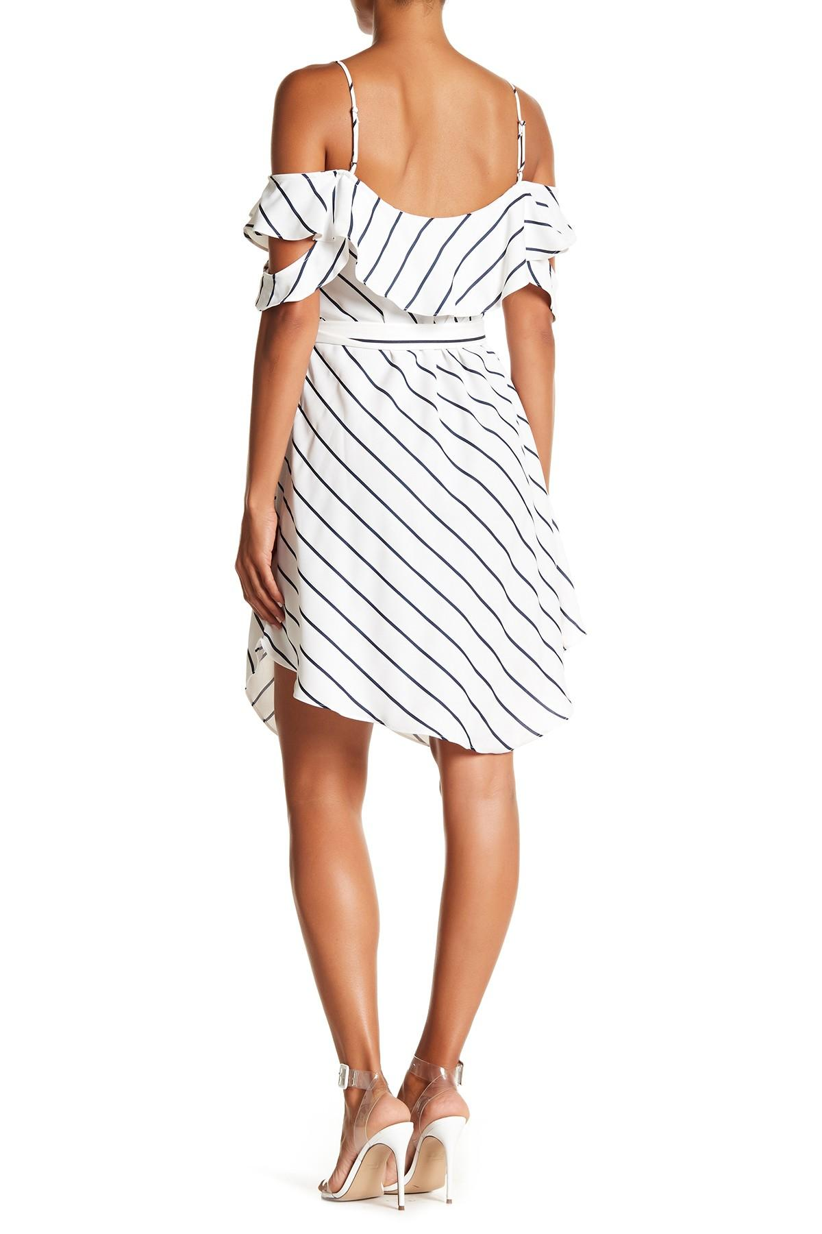 7e66ac18d239 Kendall + Kylie Pinstripe Ruffle Wrap Dress in White - Save 62% - Lyst