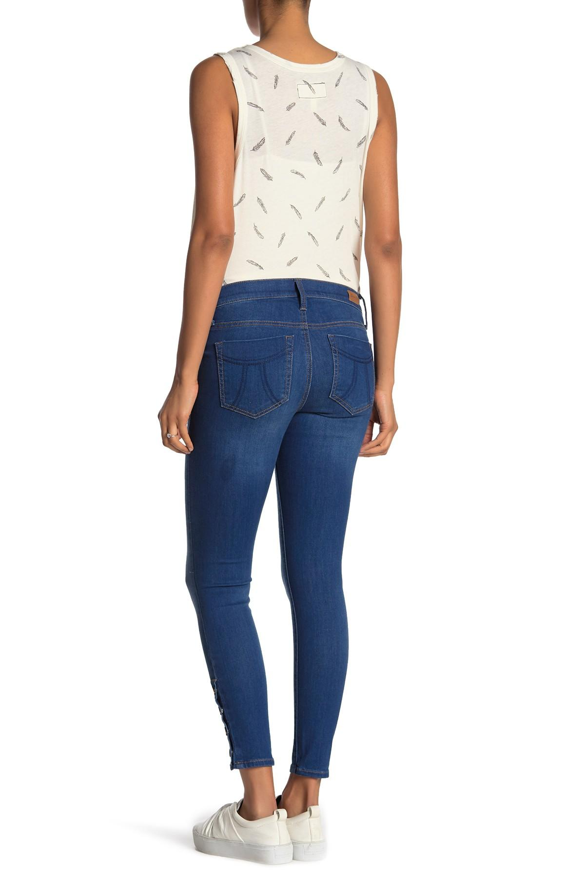 6a92ed921506d Seven7 - Blue Skinny Snap Button Jeans (maternity) - Lyst. View fullscreen