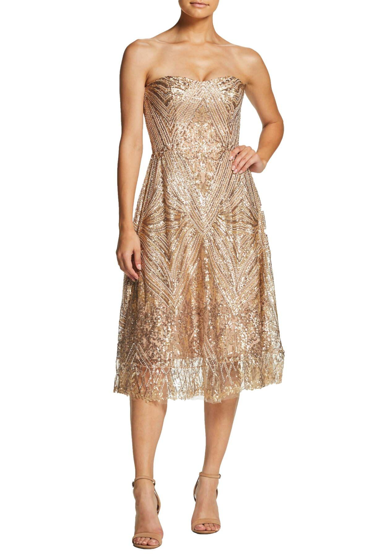 Dress The Population Sarah Sequin Strapless Fit Amp Flare