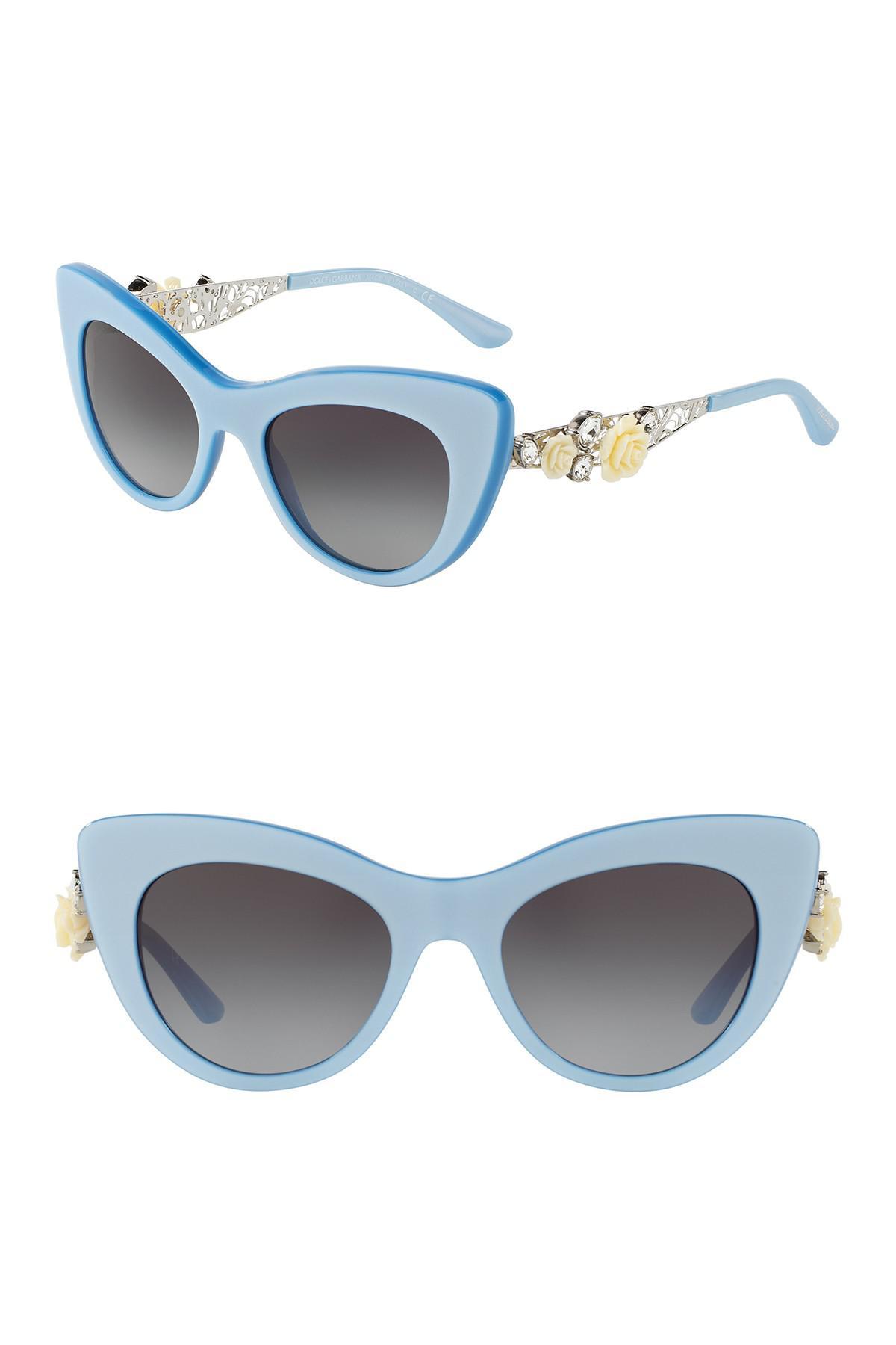 7fe224fc6 Dolce & Gabbana 52mm Flowers Lace Cat Eye Sunglasses in Blue - Lyst