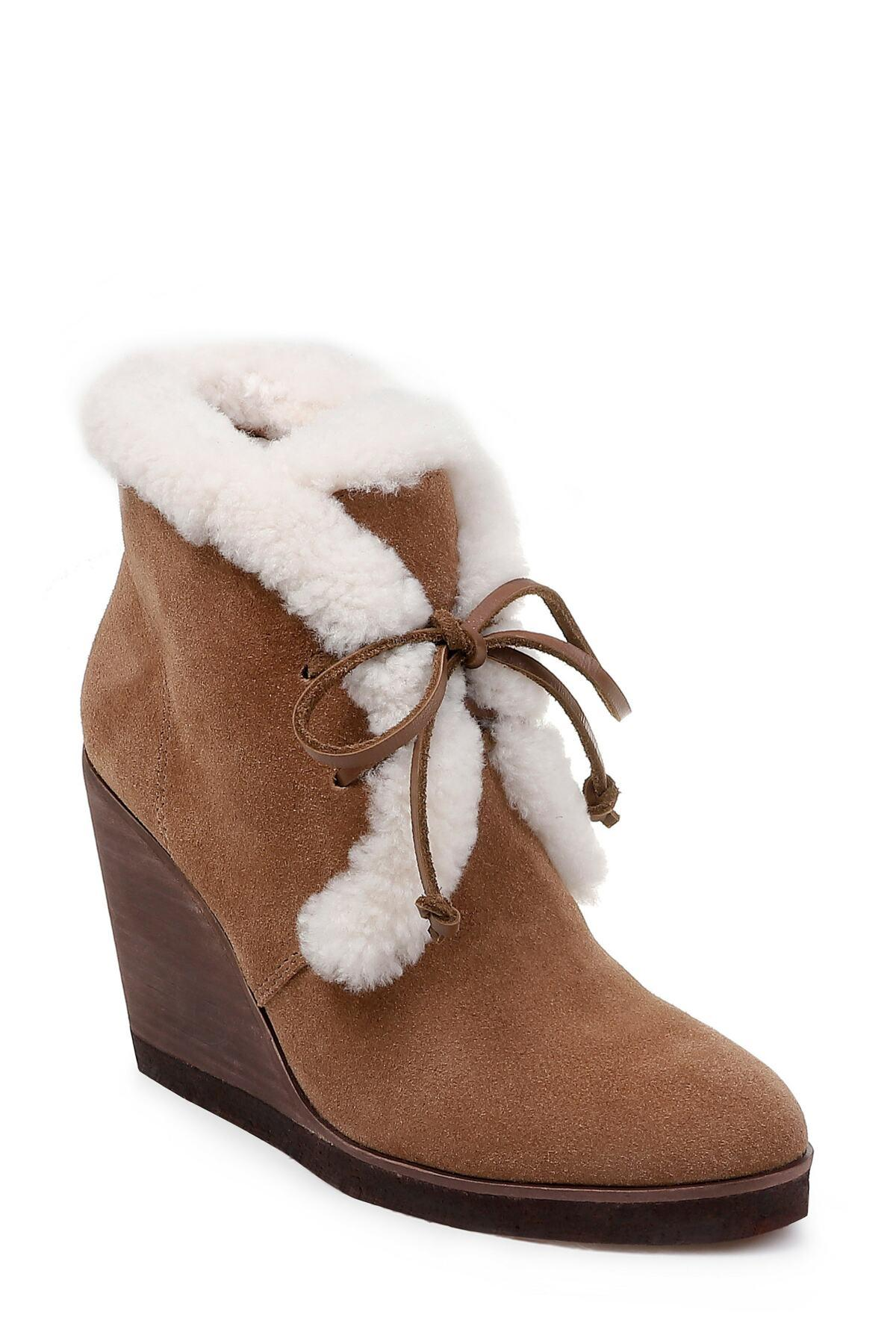 bd9920788c80 Lyst - Splendid Women s Catalina Suede   Shearling Lace Up Wedge ...