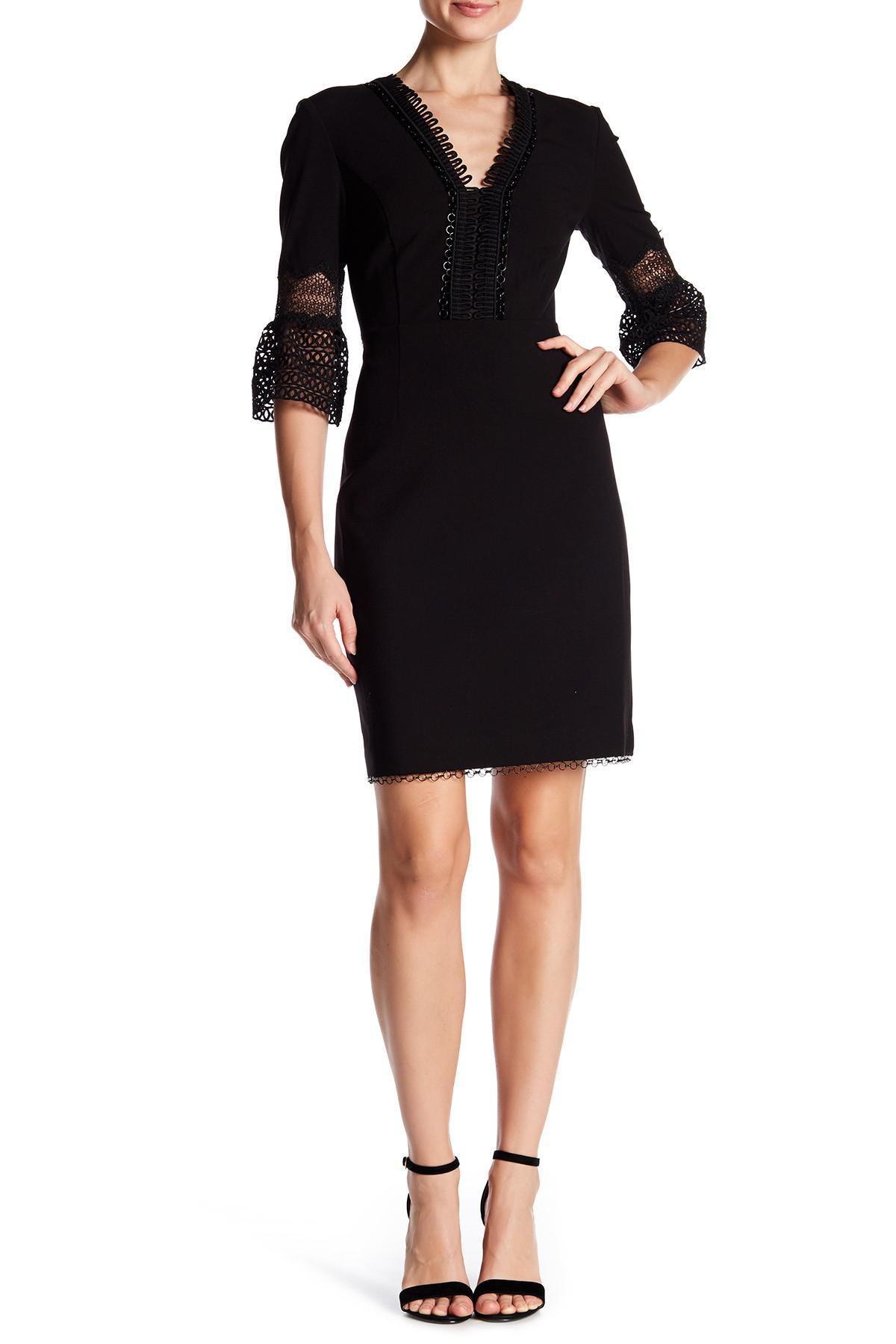Lyst T Tahari Ricky Crochet Trim Bell Sleeve Dress In Black