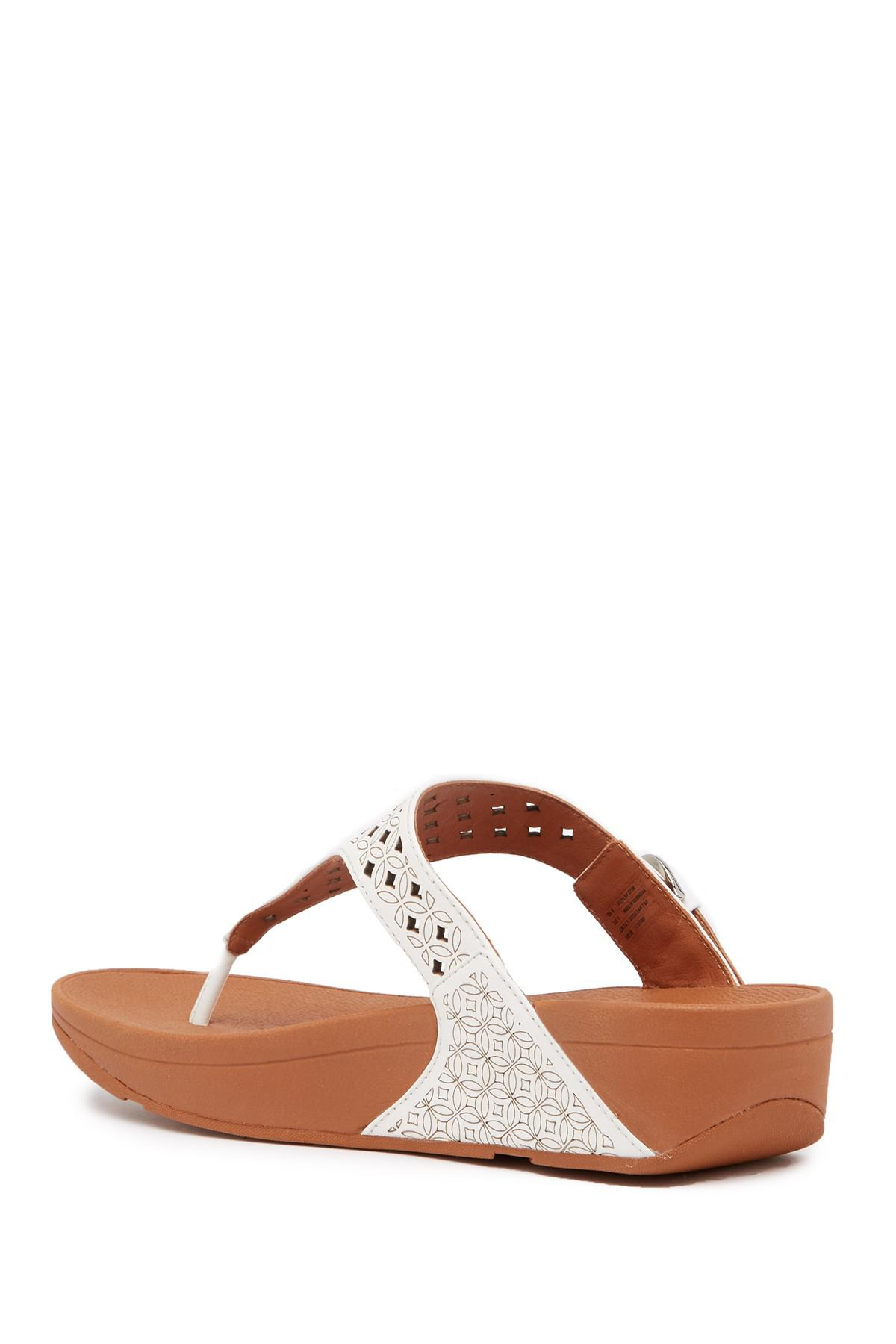 8d5a1613b Fitflop - Brown Skinny Toe Post Lattice Wedge Sandal - Lyst. View fullscreen