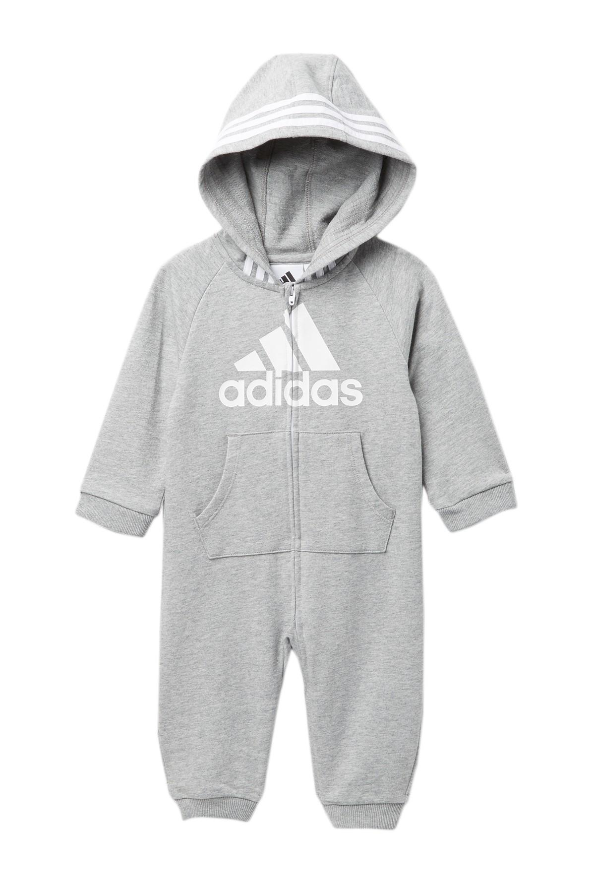 5c2db559b adidas Hooded Coverall (baby Boys) in Gray - Lyst