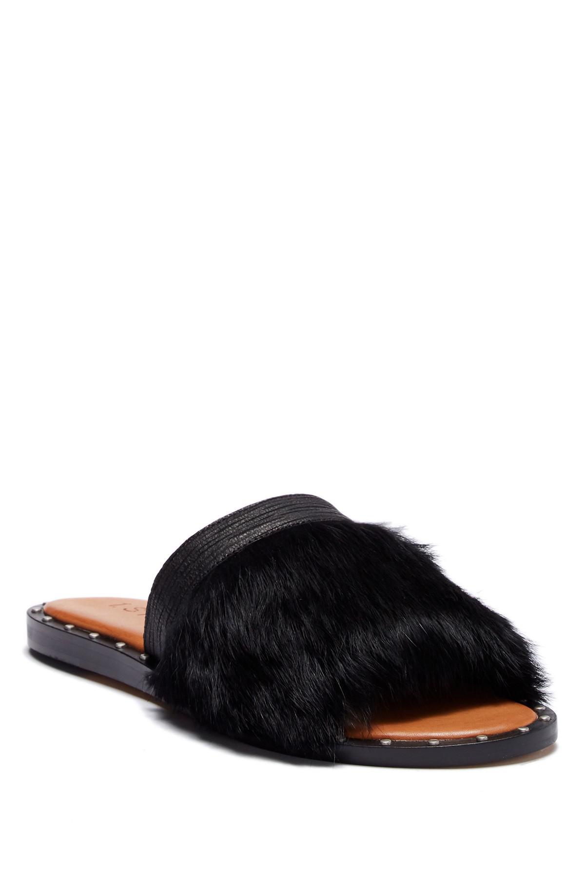 1.State Carrisma Leather & Rabbit Fur Slide Sandal N3r7MDgR8T