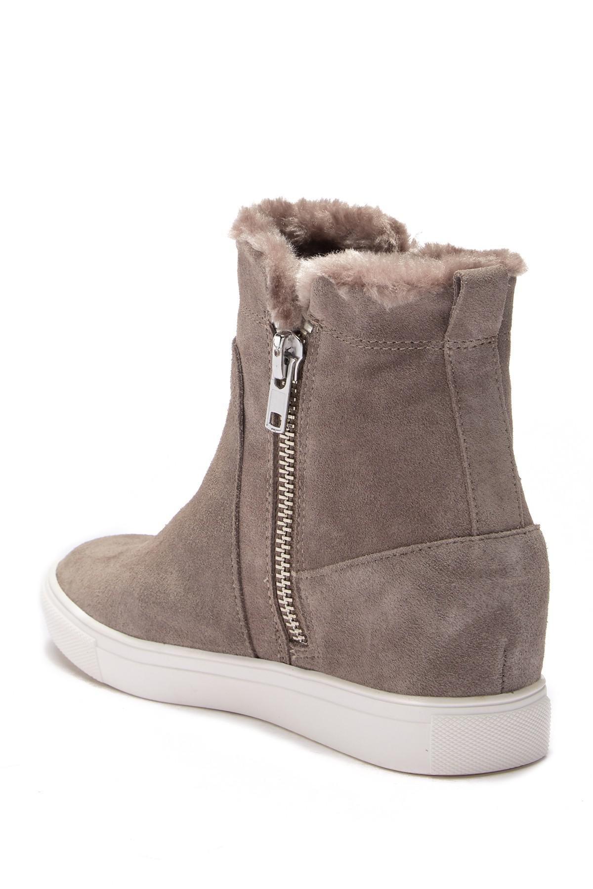 66b4789a100 Lyst - Steven by Steve Madden Ceal Hidden Wedge Faux Fur Sneaker in Gray
