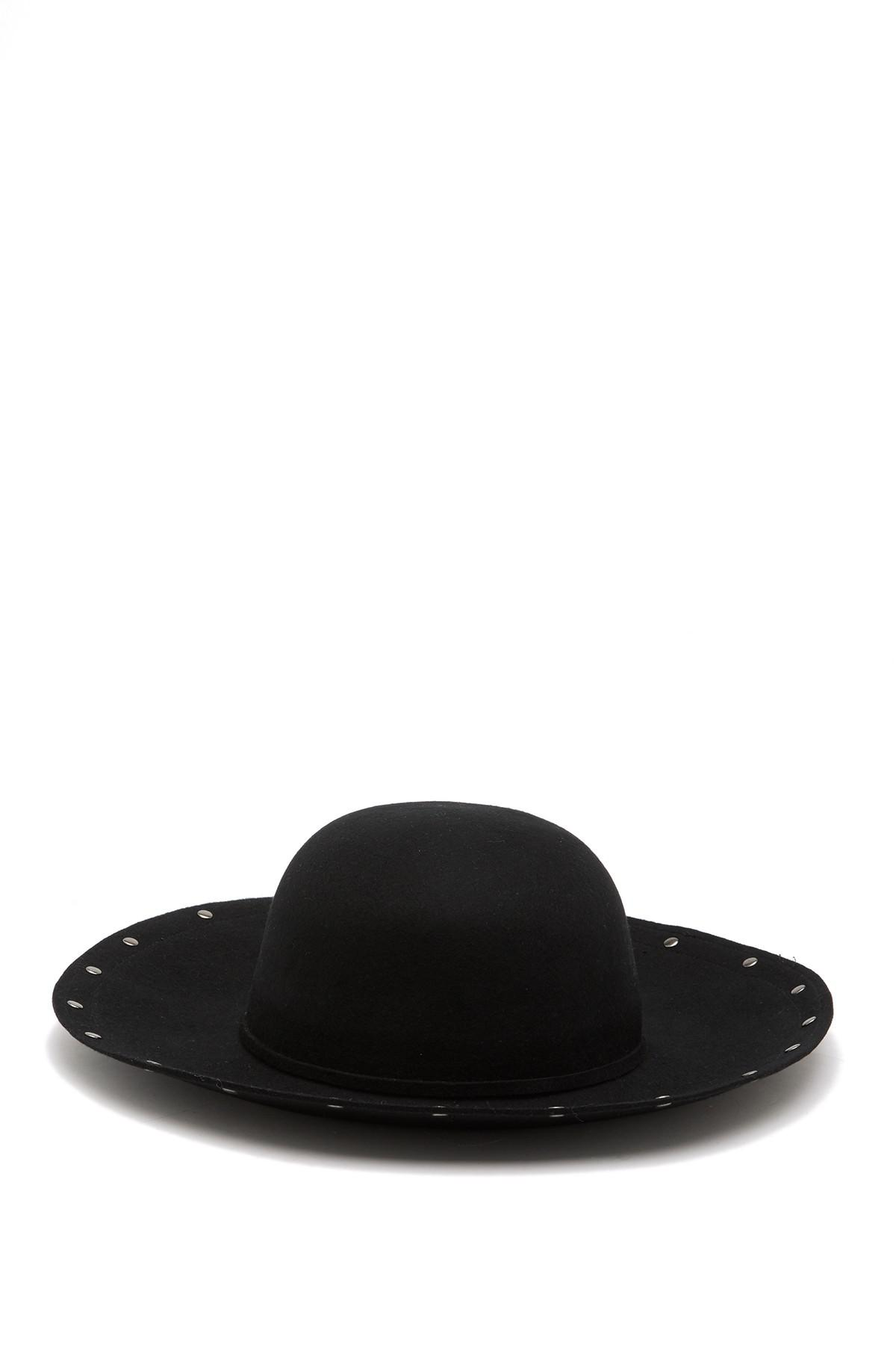Lyst - Vince Camuto Studded Floppy Wool Hat in Black 744253f7f0fd