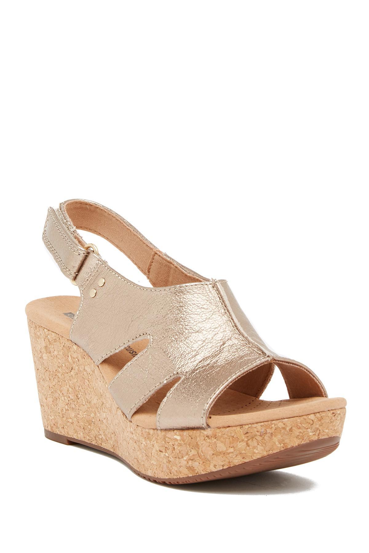 afacaddf4c9 Lyst - Clarks Annadel Bari Leather Platform Wedge Sandal
