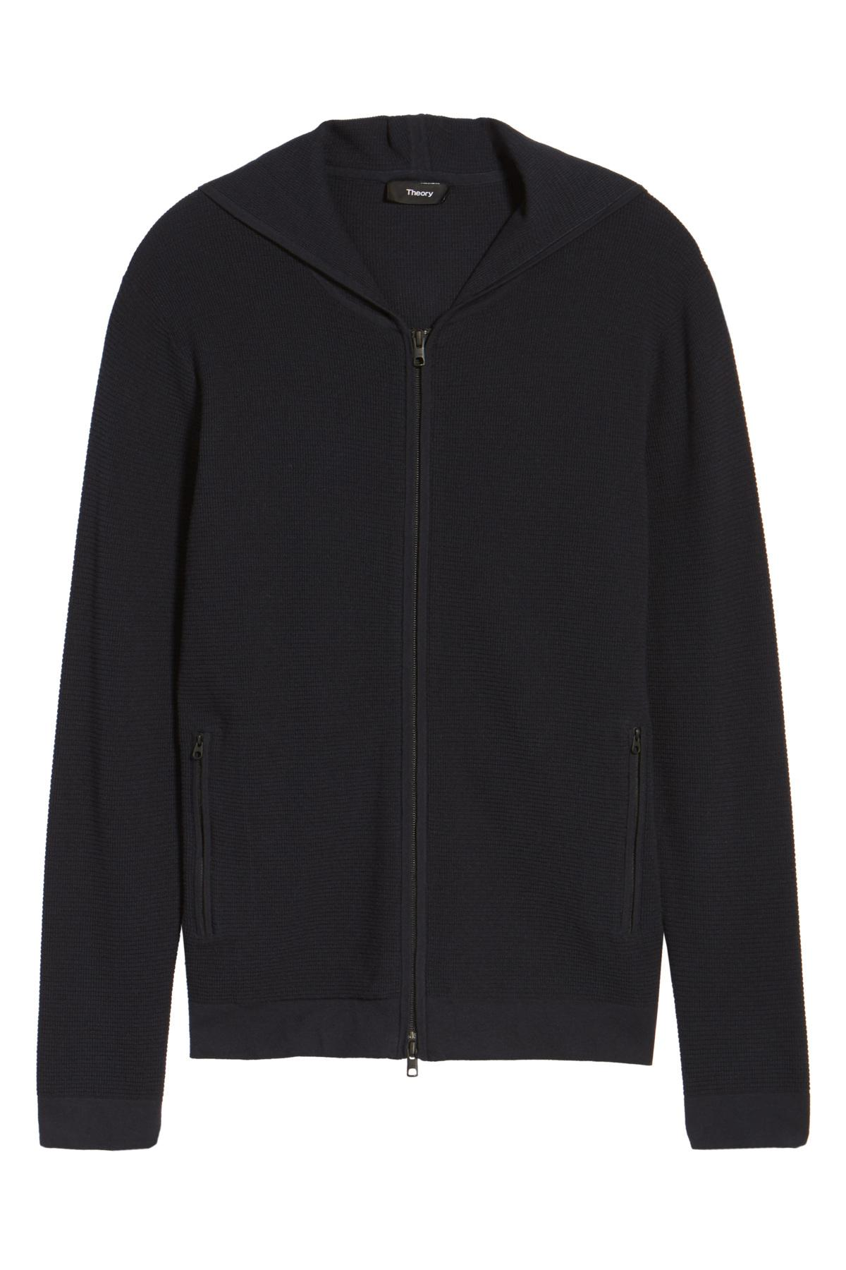 Theory Boris Zip Front Hooded Sweater in Black for Men | Lyst