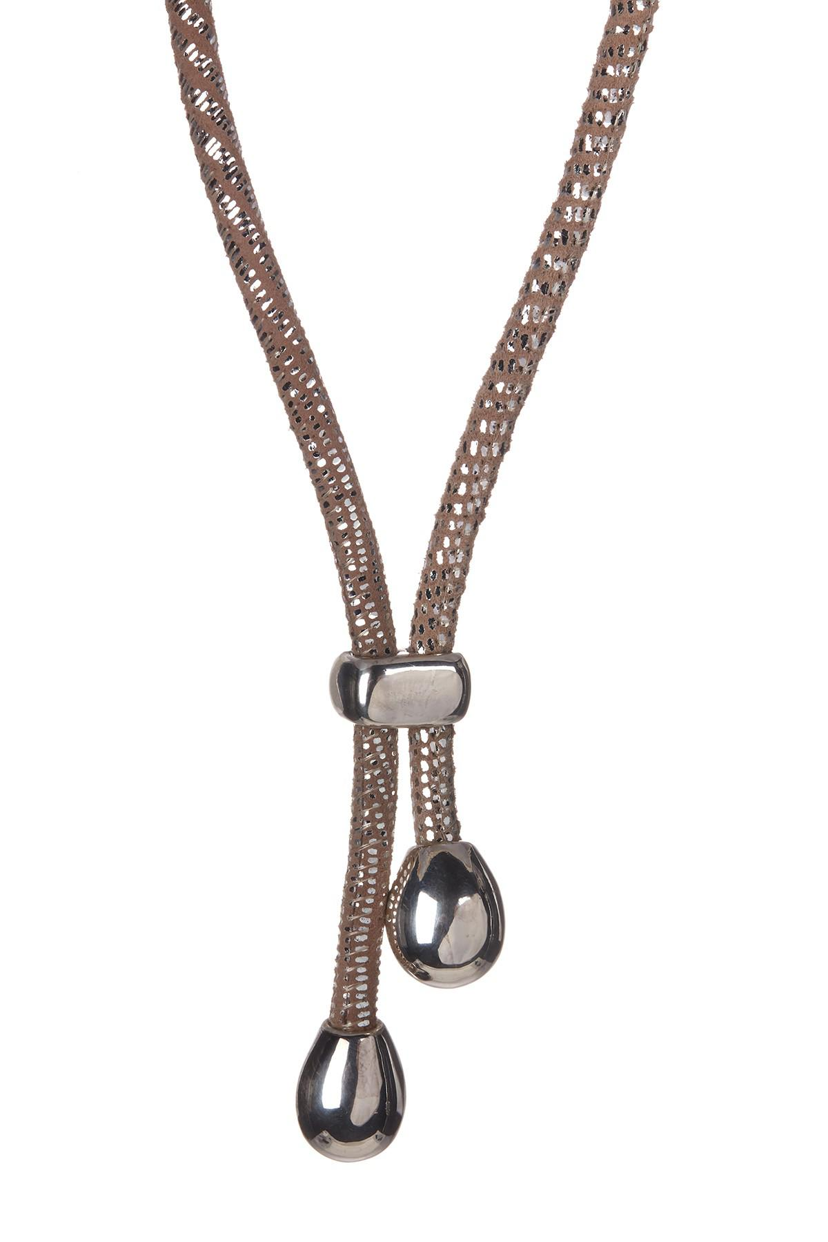 605e27687 Lyst - Simon Sebbag Sterling Silver Suede Leather Lariat Necklace in ...