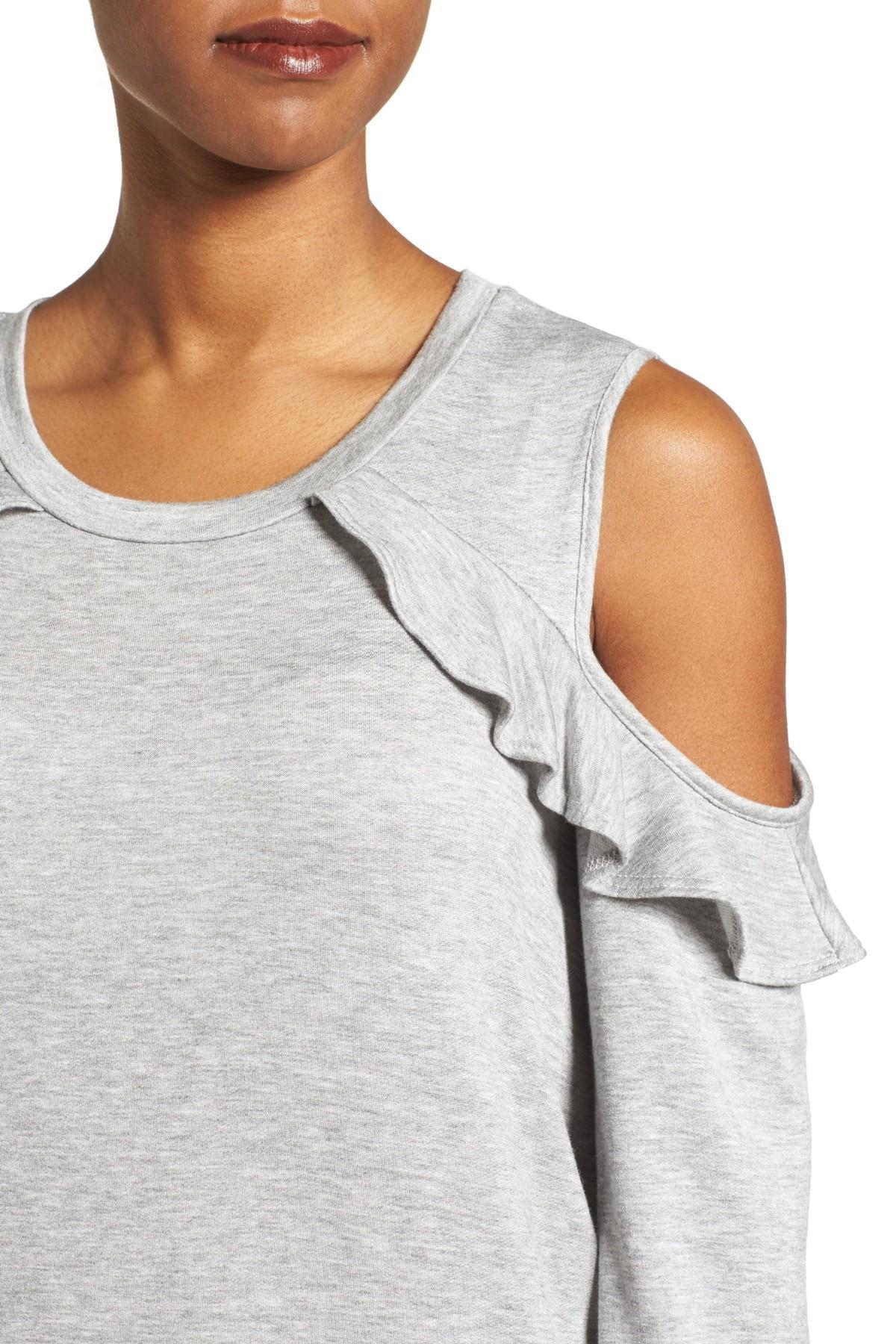 acbcfbd9c7af1 Bobeau - Gray Ruffle Cold Shoulder Sweatshirt - Lyst. View fullscreen