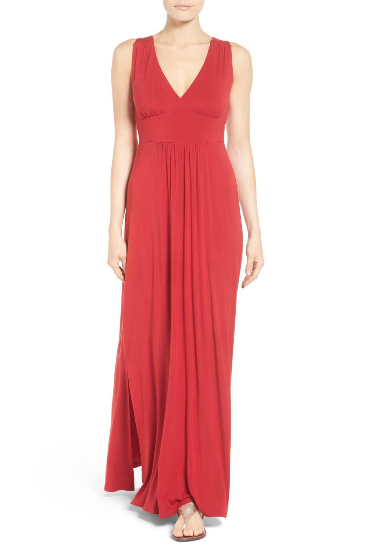 Lyst - Caslon (r) Knit Maxi Dress (regular & Petite) in Red - Save ...
