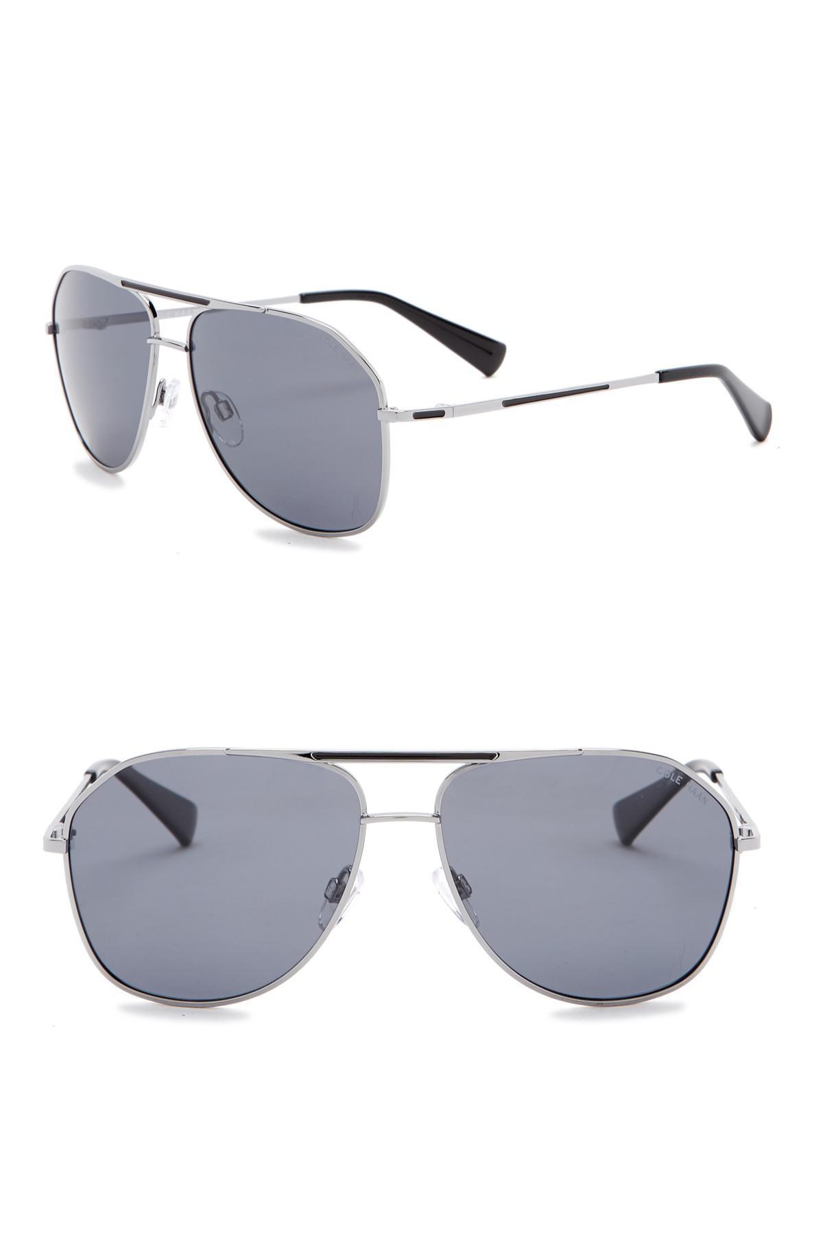 17251bc801c Lyst - Cole Haan 60mm Polarized Aviator Sunglasses in Black