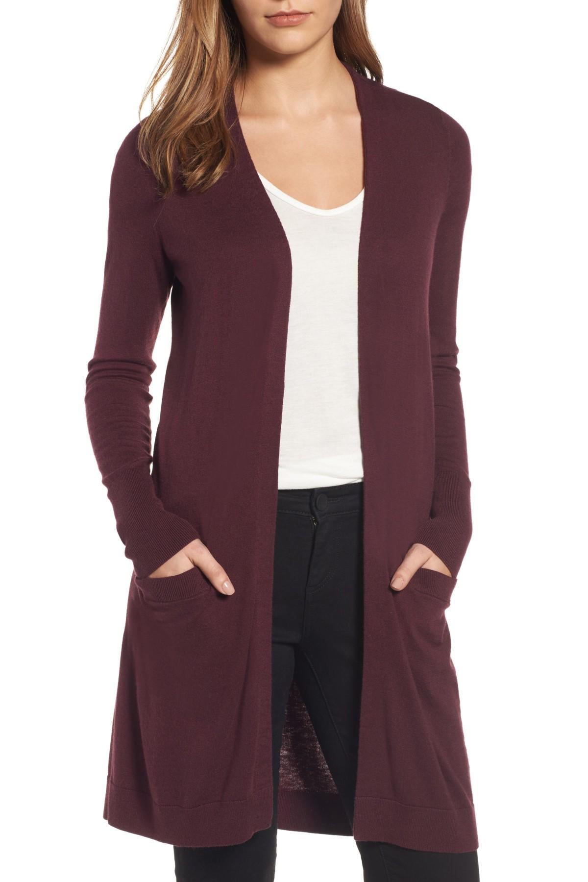 c8f2ab9b4a08 Lyst - Halogen Long Open Front Cardigan (regular   Petite) in Purple
