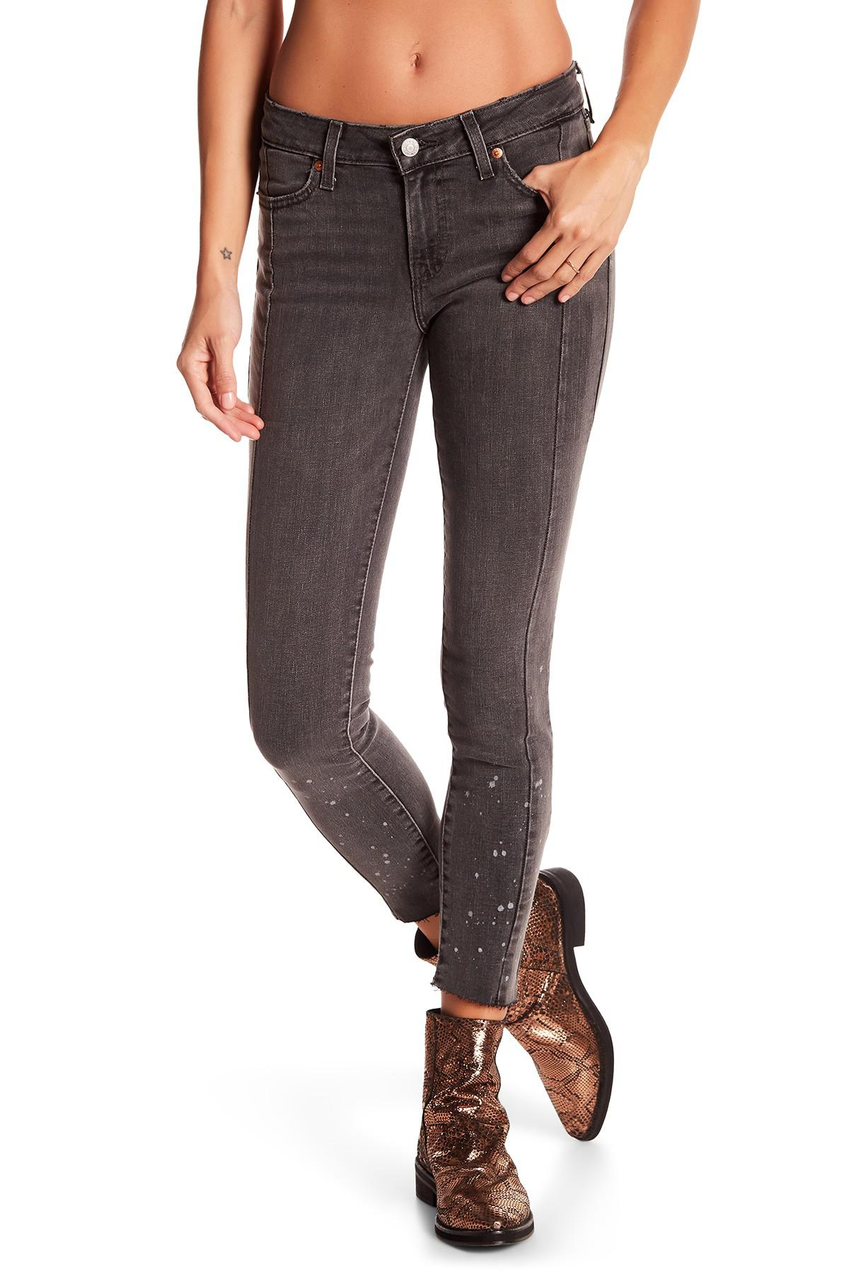 lyst levi 39 s 711 raw hem seamed skinny jeans in gray. Black Bedroom Furniture Sets. Home Design Ideas