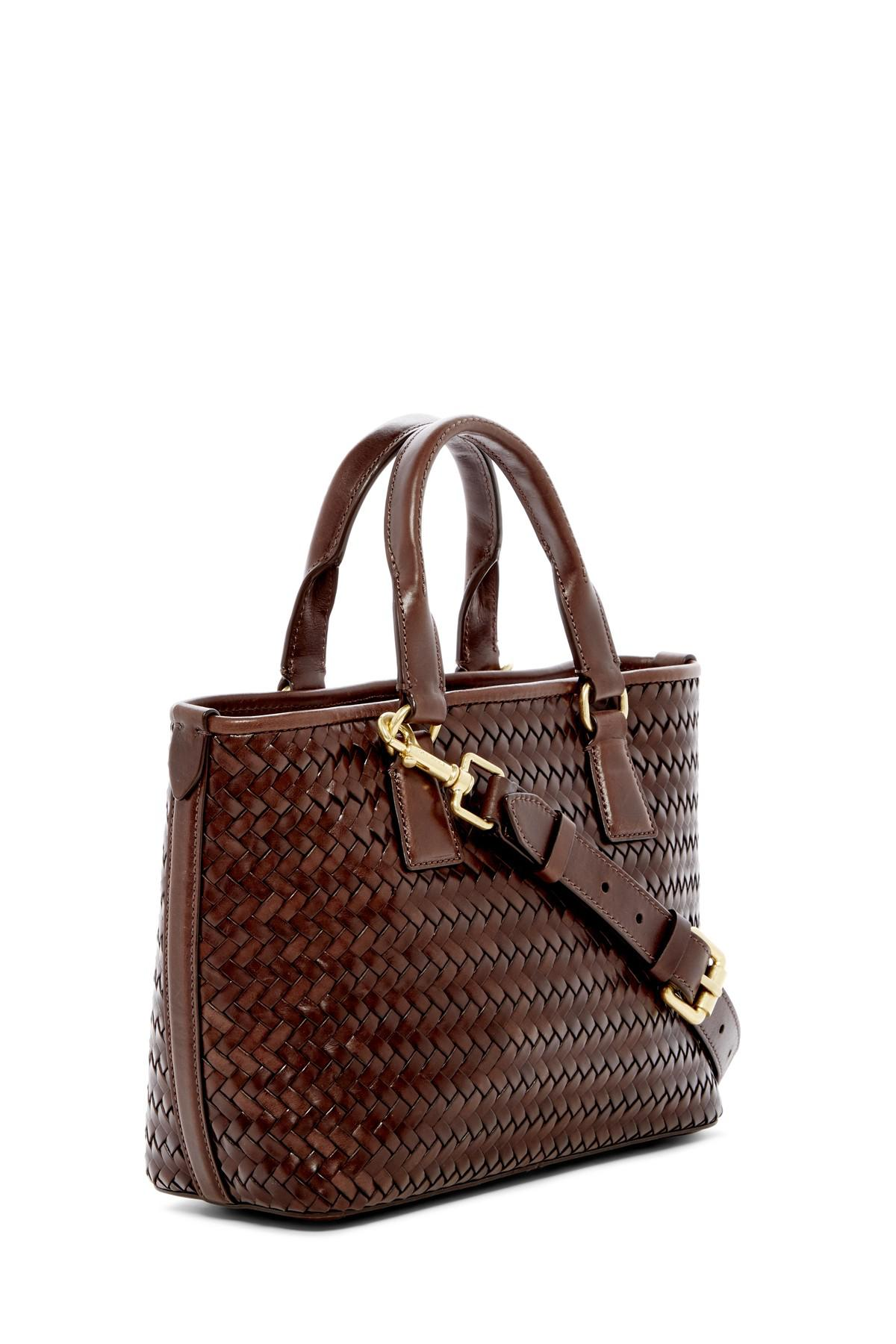 c0bcb5df5d5 Cole Haan Celia Small Woven Leather Tote Bag in Brown - Lyst