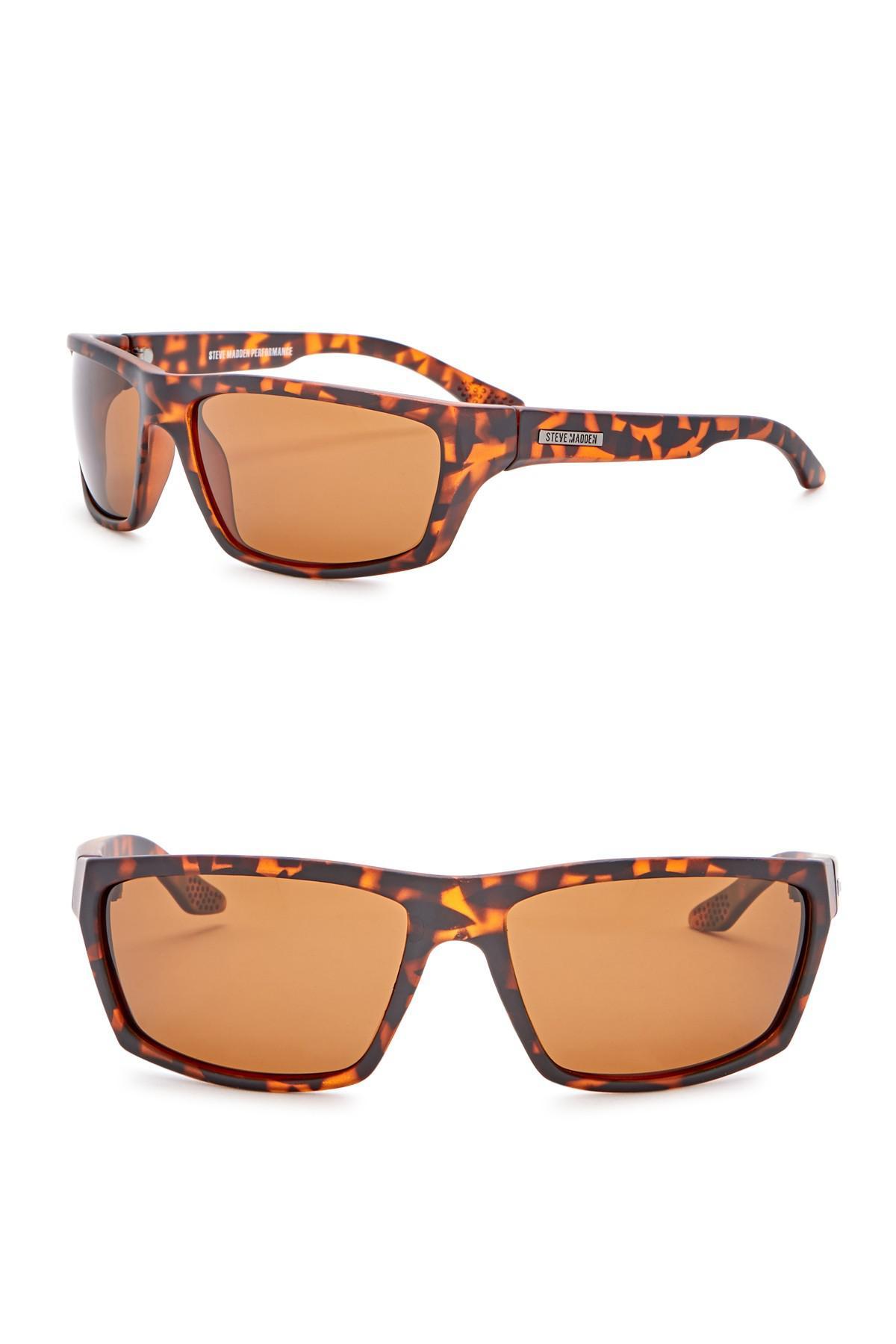 Lyst - Steve Madden 61mm Wrap Polarized Acetate Frame Sunglasses in ...