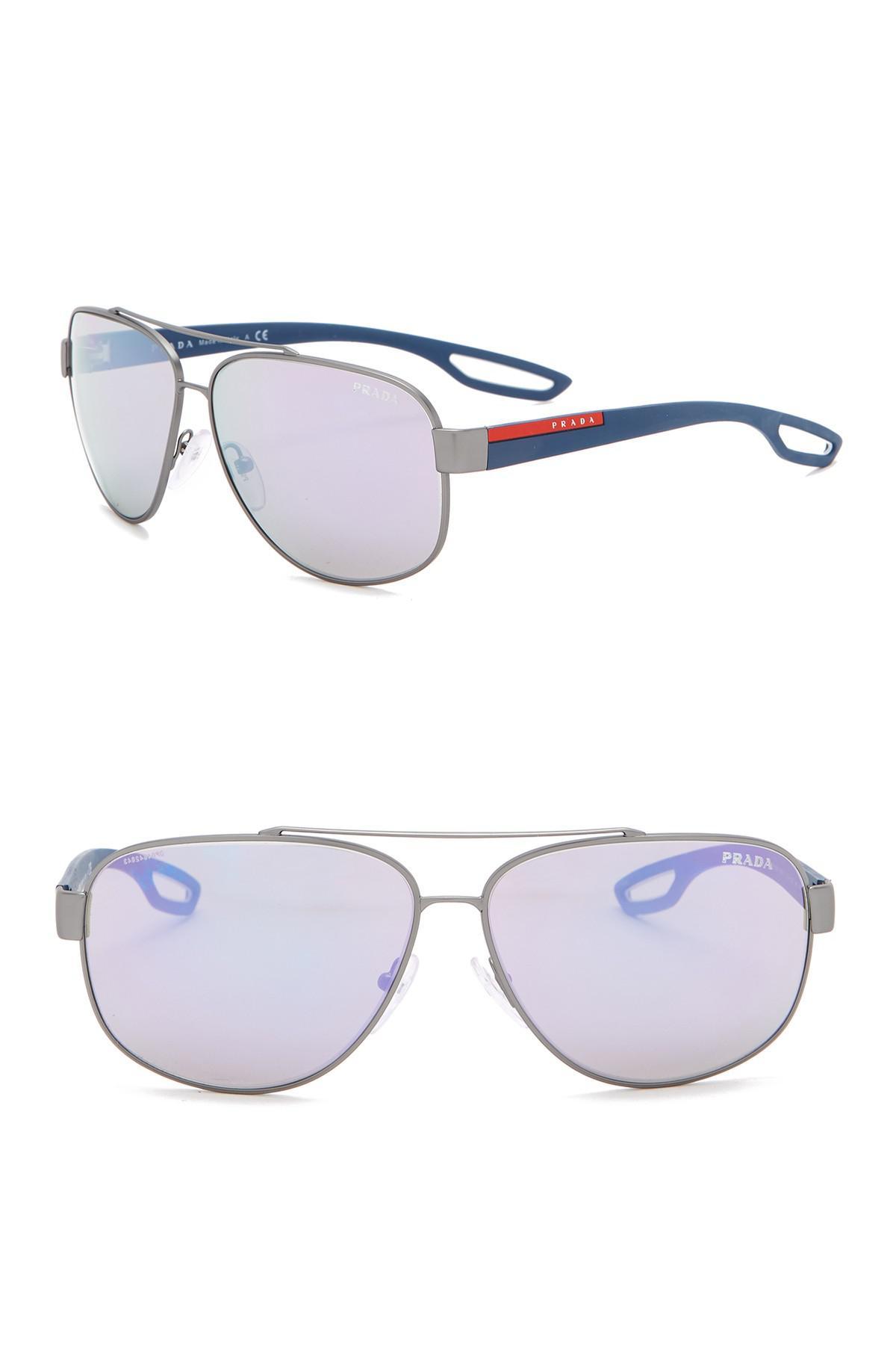 21e2804c7691 Prada - White 63mm Navigator Sunglasses for Men - Lyst. View fullscreen