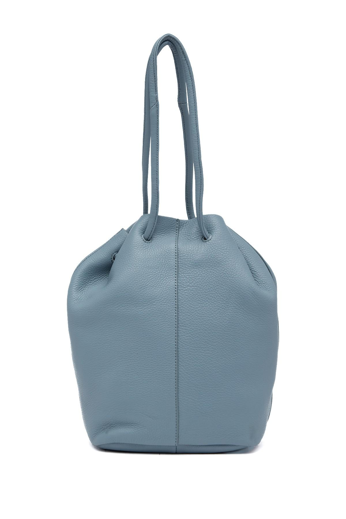Lyst Christopher Kon Pebbled Leather Drawstring Bucket Bag In Blue Shark Gallery
