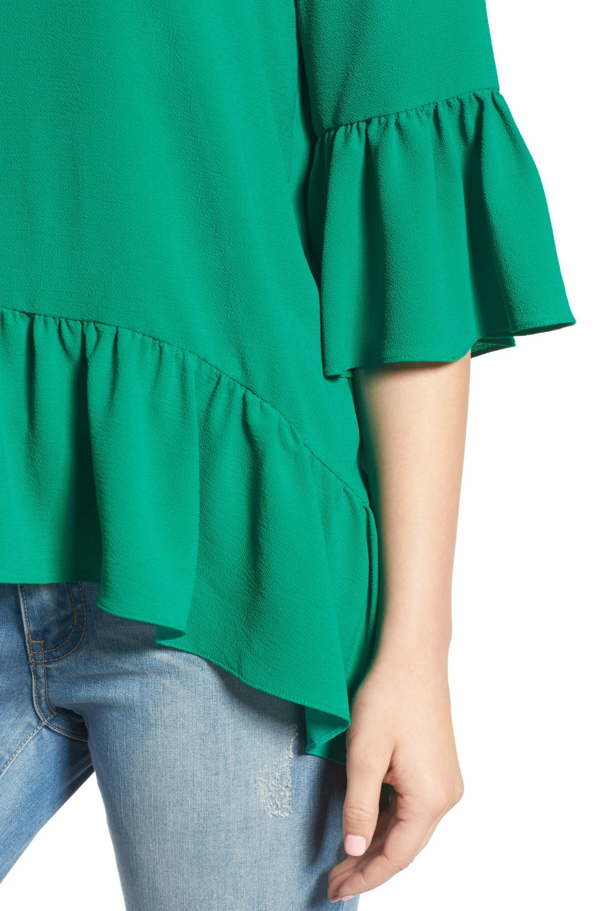 52b877a4b78f1d Lyst - Gibson Ruffled Handkerchief Hem Top (regular & Petite) in Green