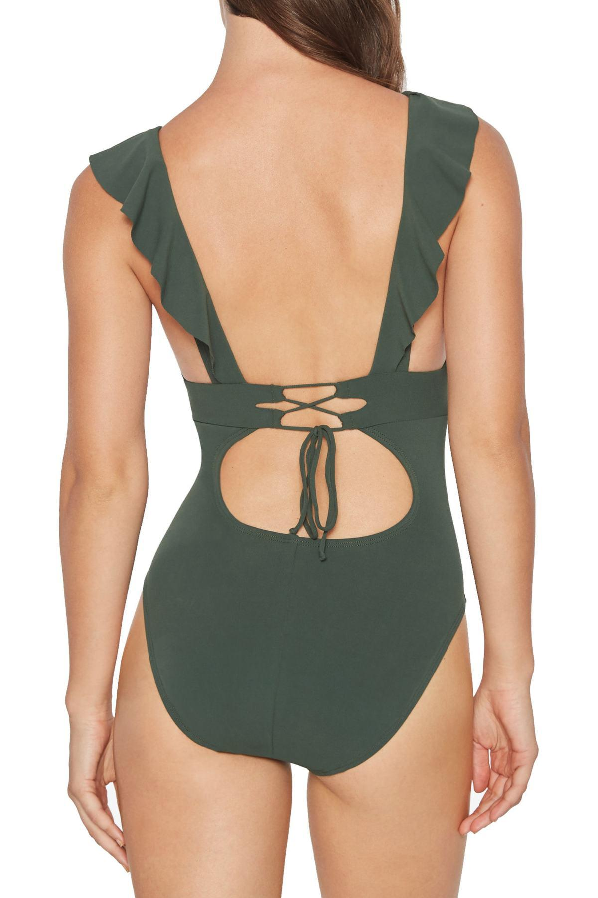 2aeed1ba5517b Robin Piccone - Green Ruffle One-piece Swimsuit - Lyst. View fullscreen
