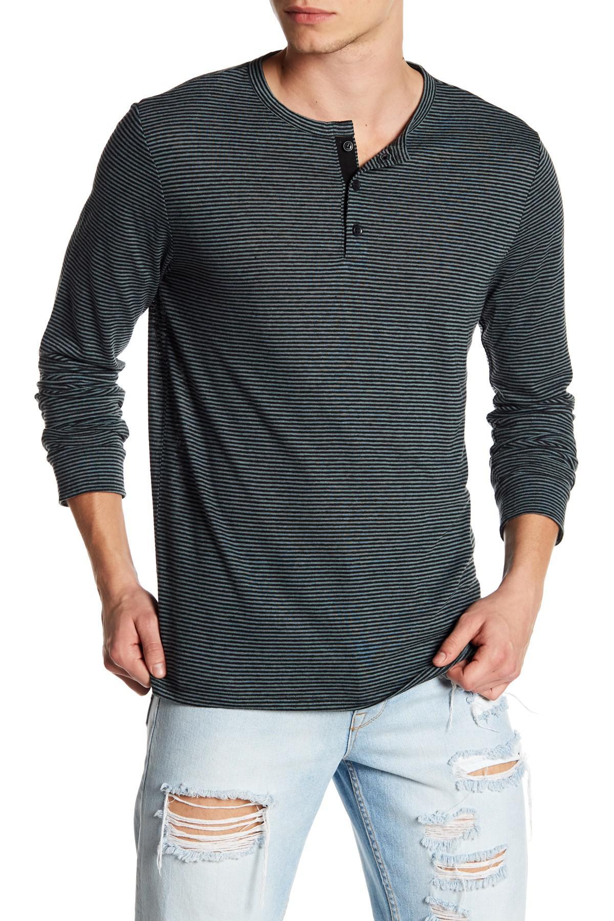 Onia miles long sleeve stripe henley shirt in black for for Black long sleeve henley shirt
