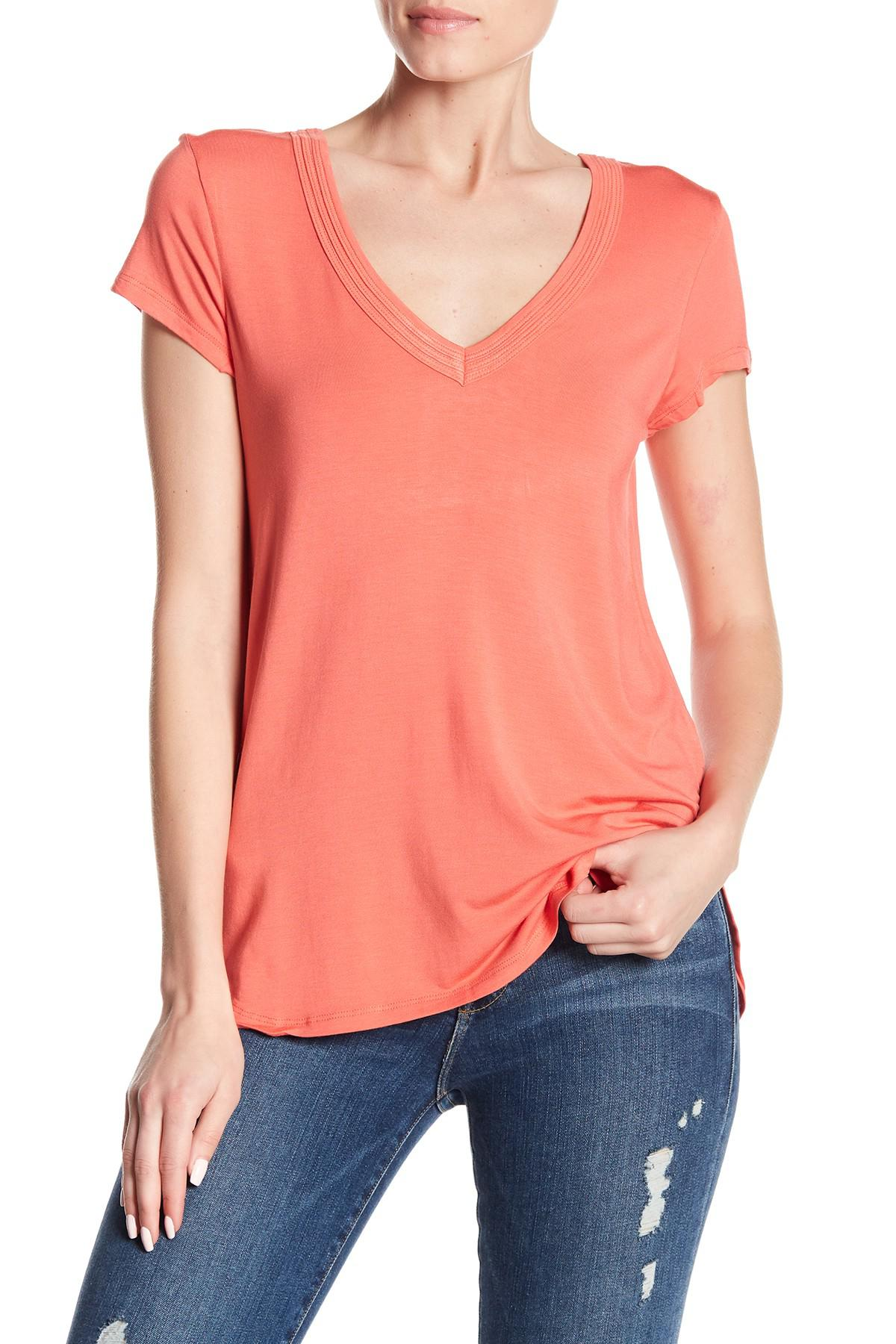 4278775d5d5f3 Lyst - Heather by Bordeaux Double V-neck Solid Tee in Orange