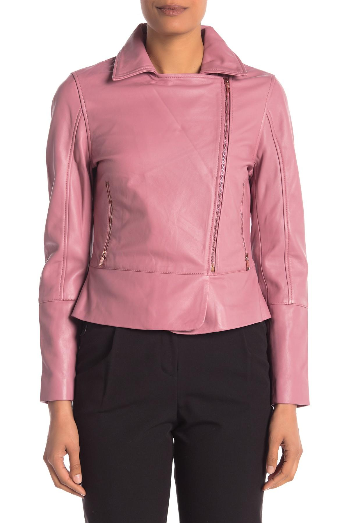 12cfa4bdd Ted Baker - Pink Minimal Leather Biker Jacket - Lyst. View fullscreen