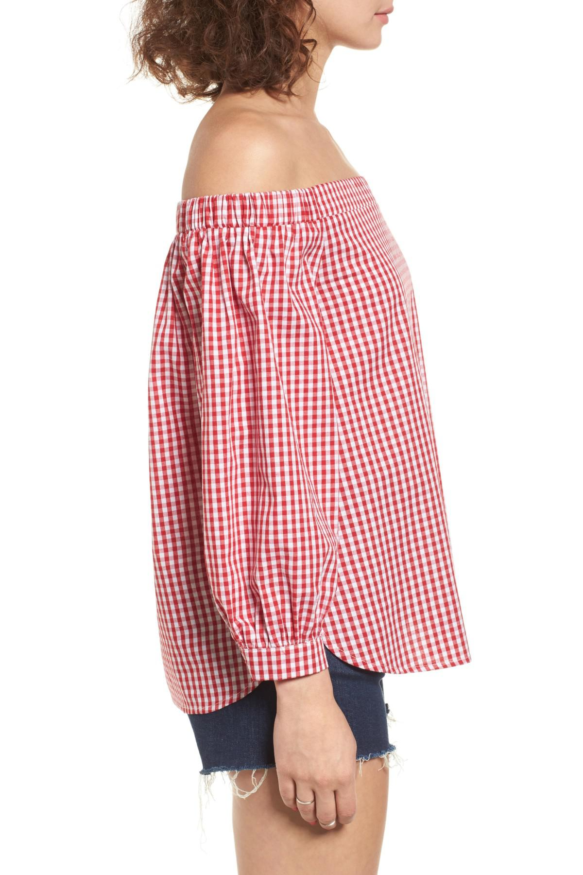 67128966530984 Soprano Gingham Off The Shoulder Bubble Sleeve Top in Red - Lyst