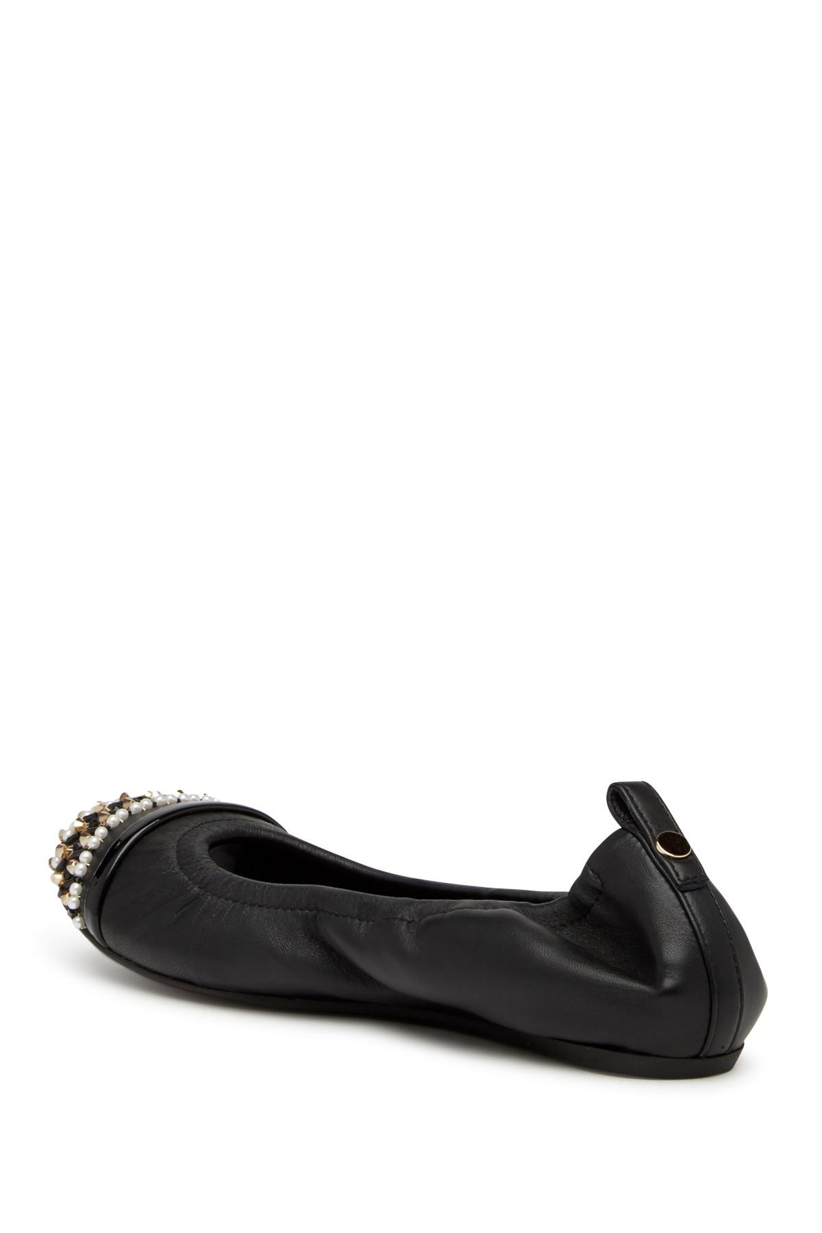 Lanvin Lanvin Leather Beaded and Faux Pearl Embellished Flat Q5LfW