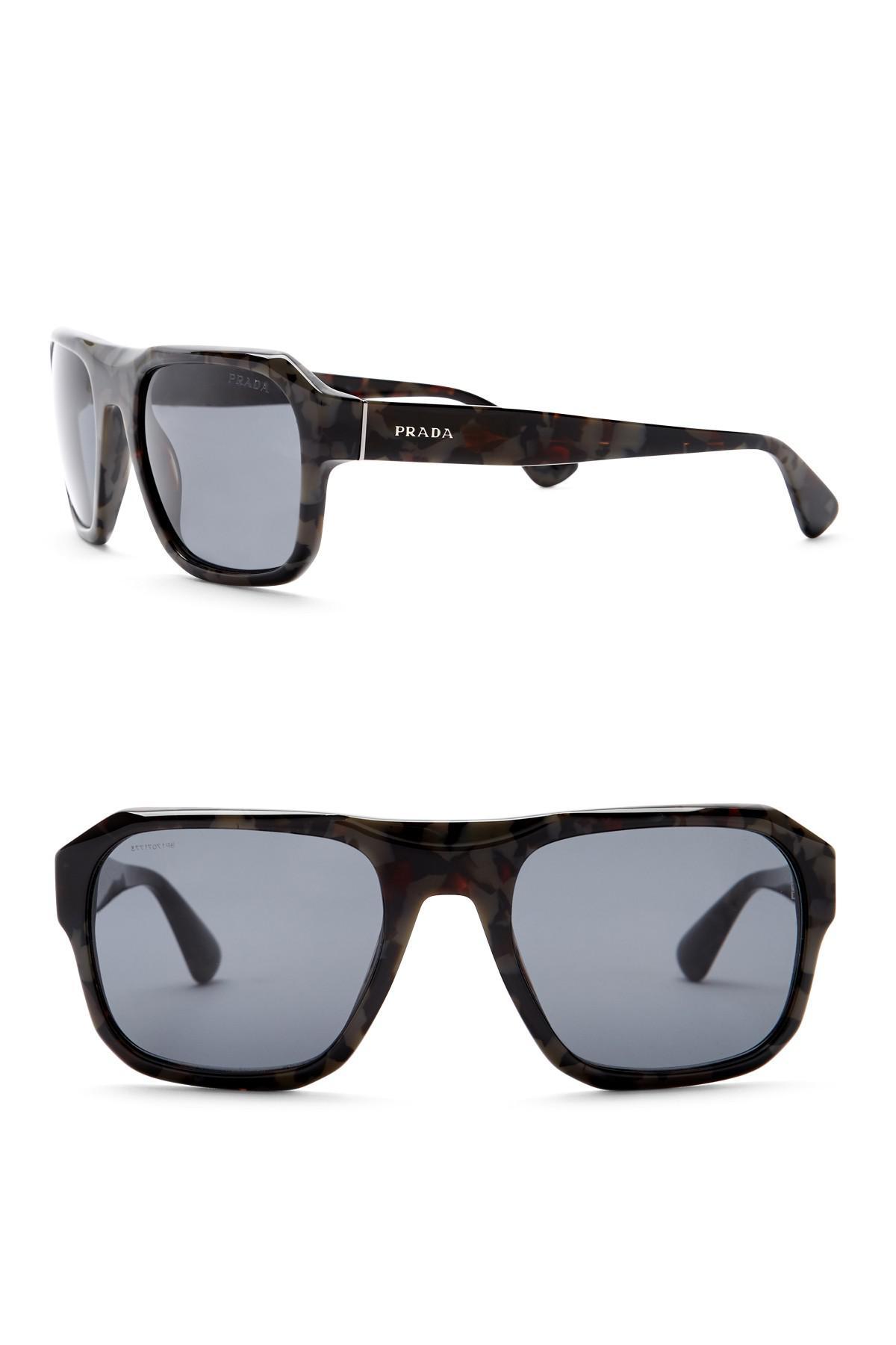 949b996926 ... switzerland lyst prada womens square conceptual 55mm sunglasses in gray  1c77e f3116