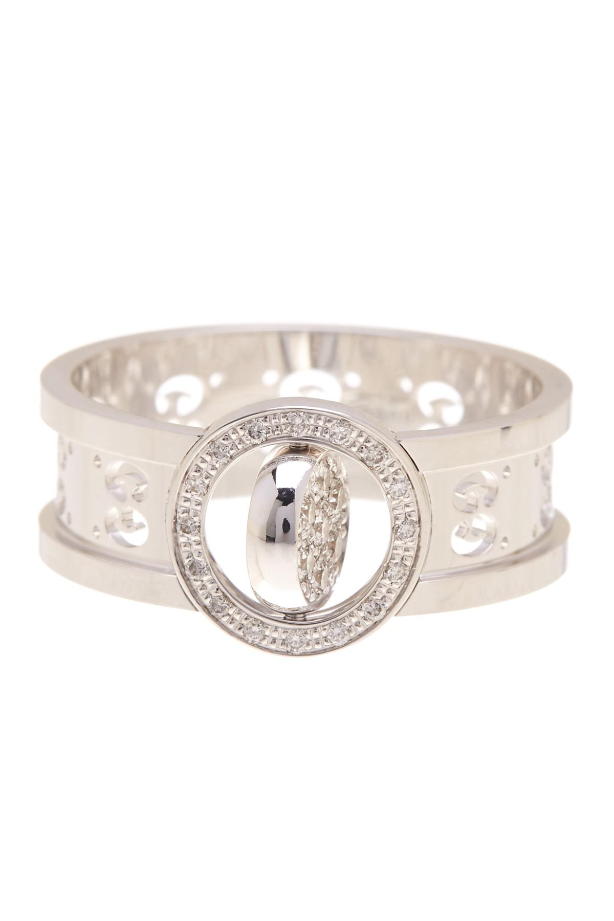 1d894f82b Lyst - Gucci Icon Pave Cutout Spinner Ring - Size 8 in Metallic