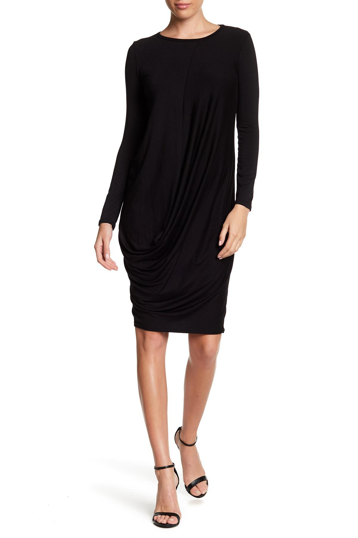 6e5a012cd83 Go Couture Draped Bubble Hem Dress in Black - Lyst