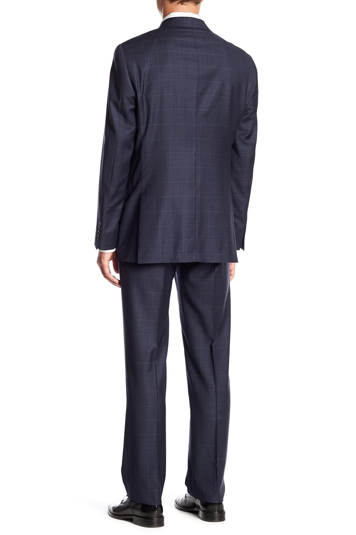 Navy Windowpane Notch Lapel Wool New York Fit Suit