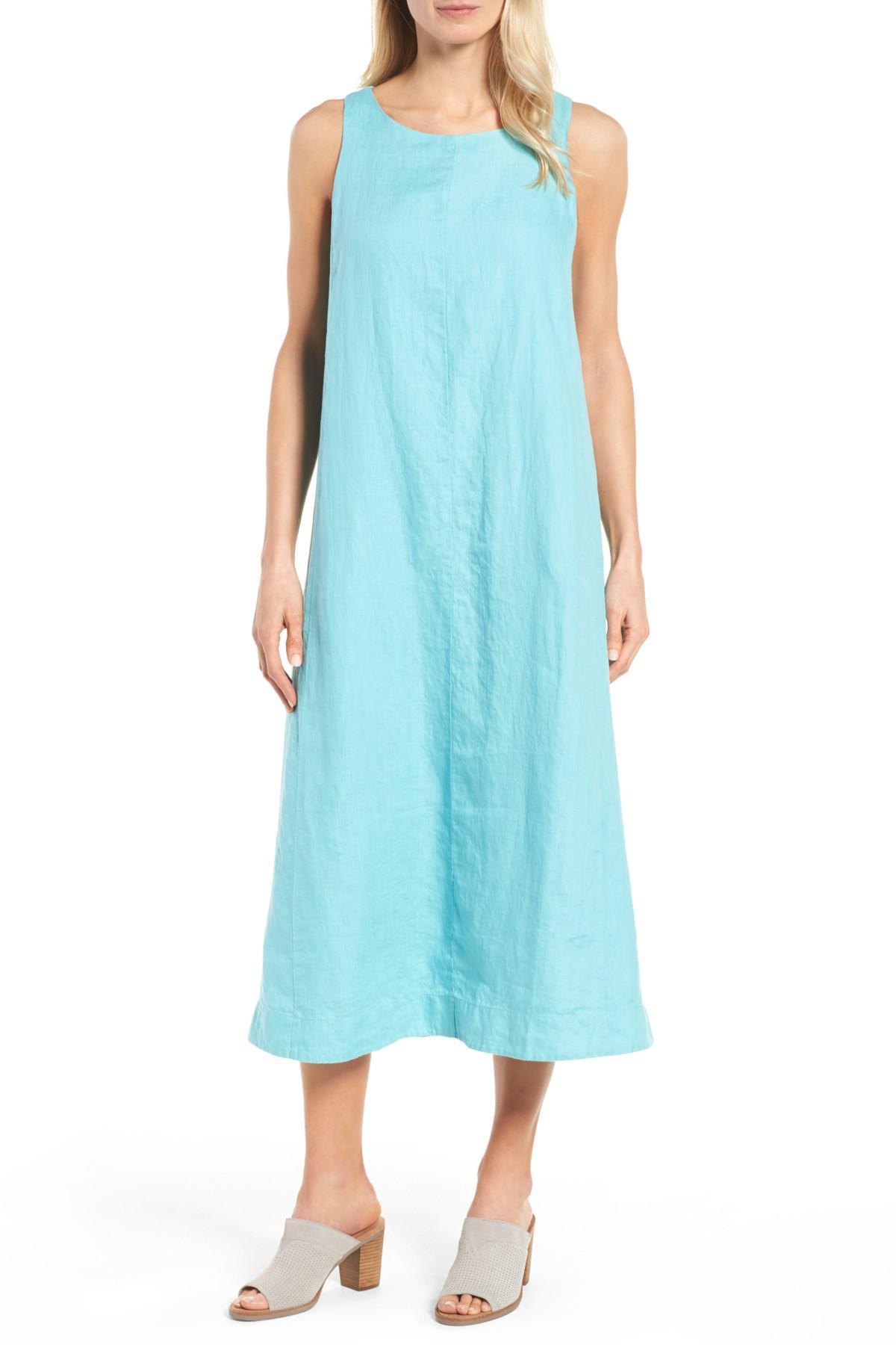 1bf42df63cd Lyst - Eileen Fisher Sleeveless Linen Maxi Shift Dress (petite) in Blue