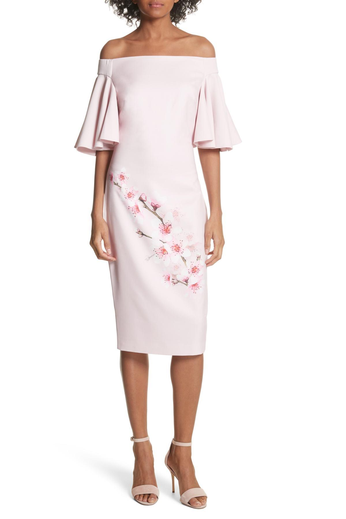2280cc7baed00d Lyst - Ted Baker Soft Blossom Off-the-shoulder Sheath Dress in Pink