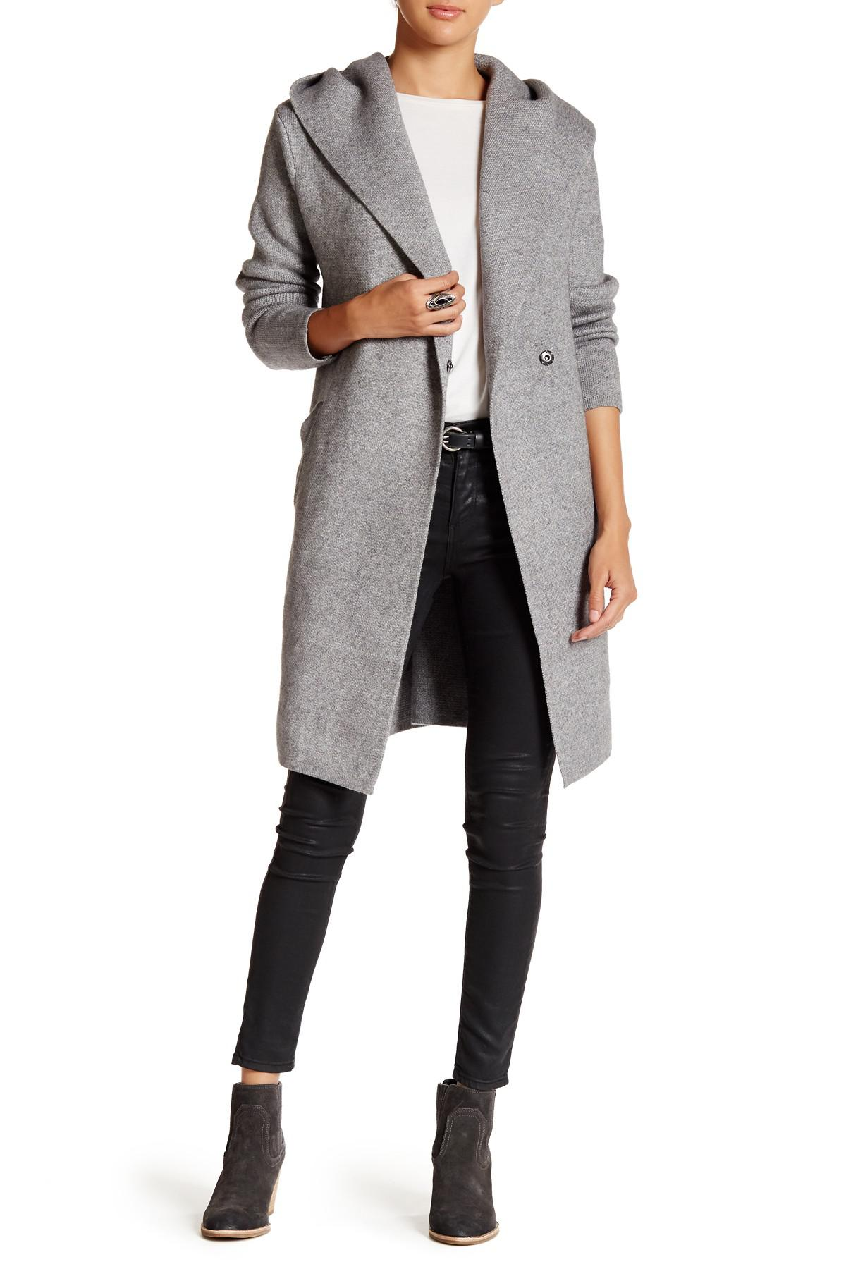 Love token Long Sleeve Hooded Cardigan in Gray | Lyst