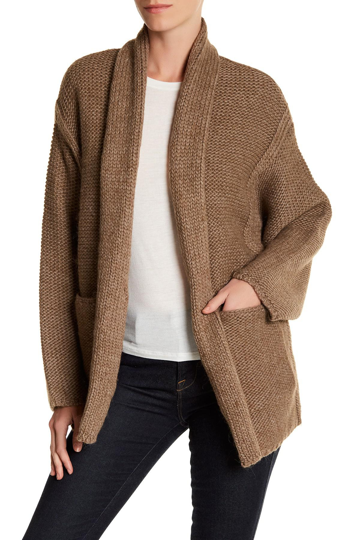 Joie Cadee Chunky Knit Cardigan in Brown | Lyst