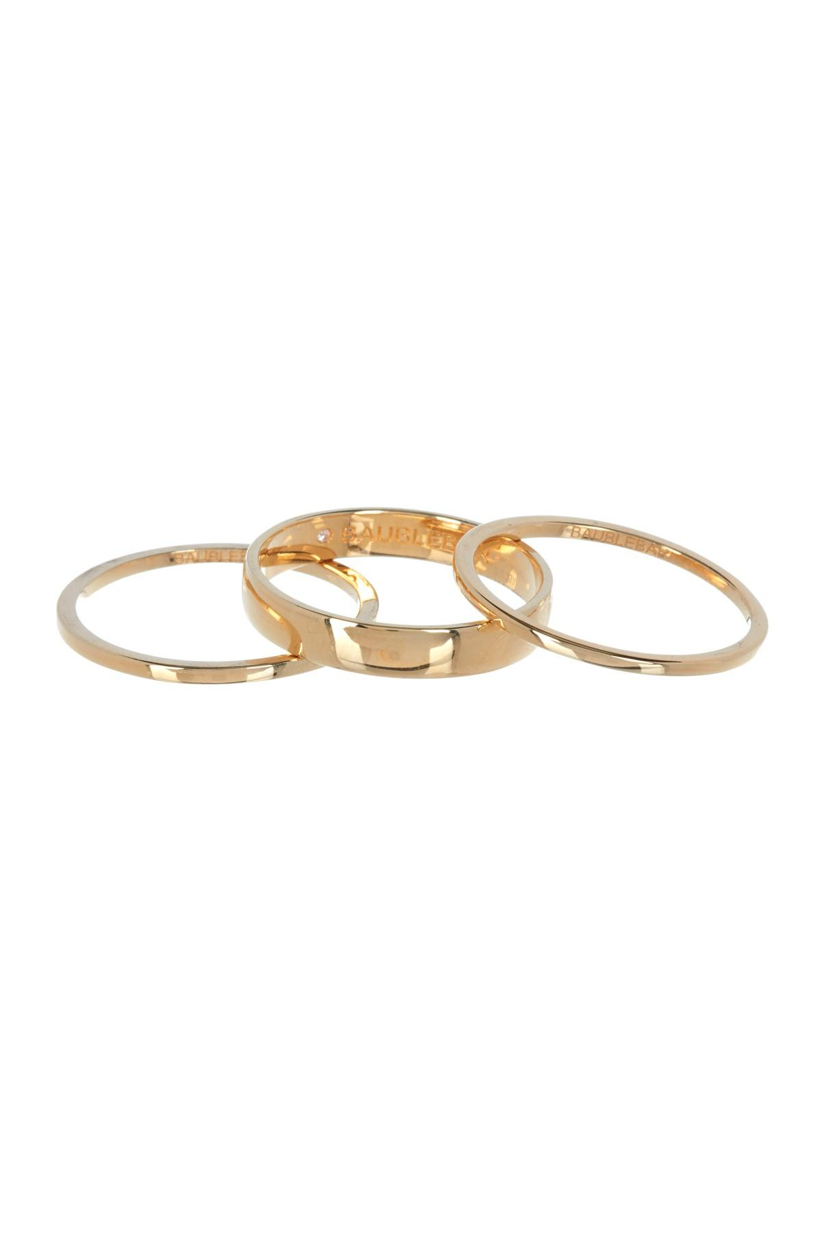 2c2bbae7e6874 Lyst - BaubleBar 18k Gold Vermeil Stacking Ring Set in Metallic