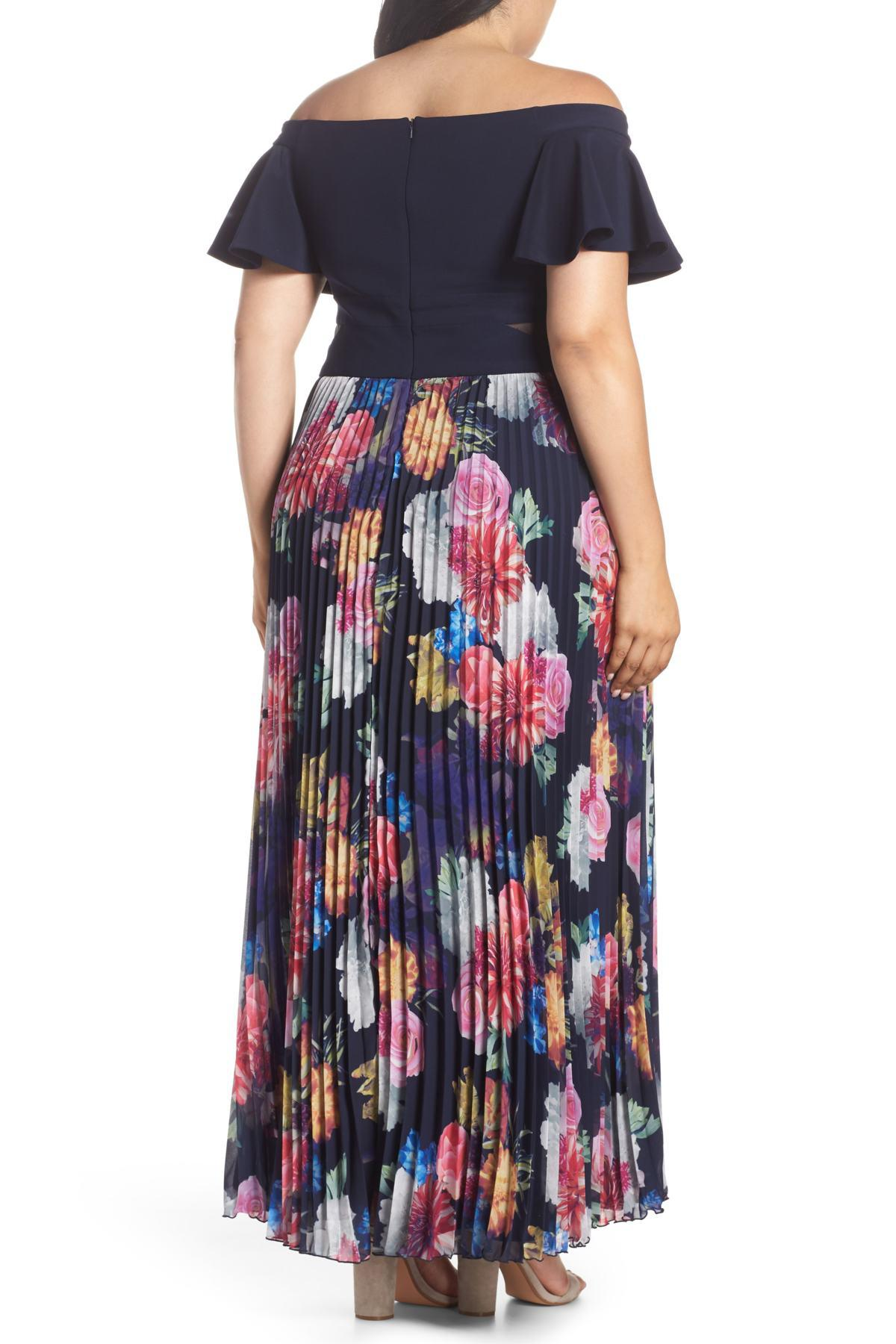 9f6370330be Lyst - Xscape Ruffle Sleeve Off The Shoulder Pleated Maxi Dress ...