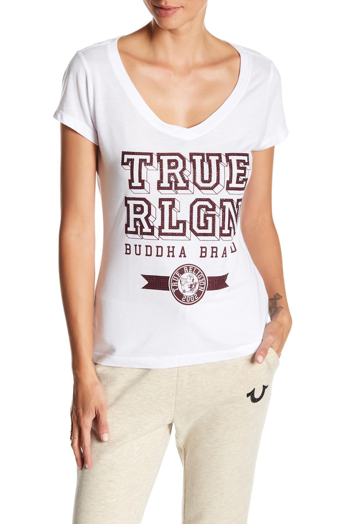 true religion rounded v neck gemstone tee in white lyst. Black Bedroom Furniture Sets. Home Design Ideas