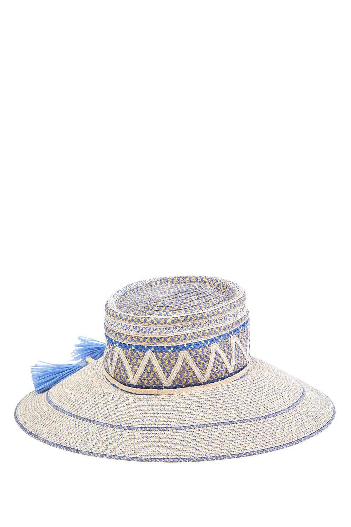 Lyst - Eric Javits Palermo Squishee Patterned Sun Hat in Blue 97539effc6e