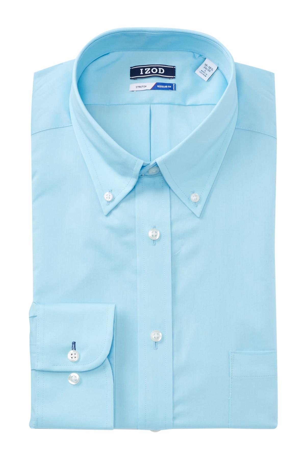 Lyst izod solid twill regular fit dress shirt in blue for Regular fit dress shirt
