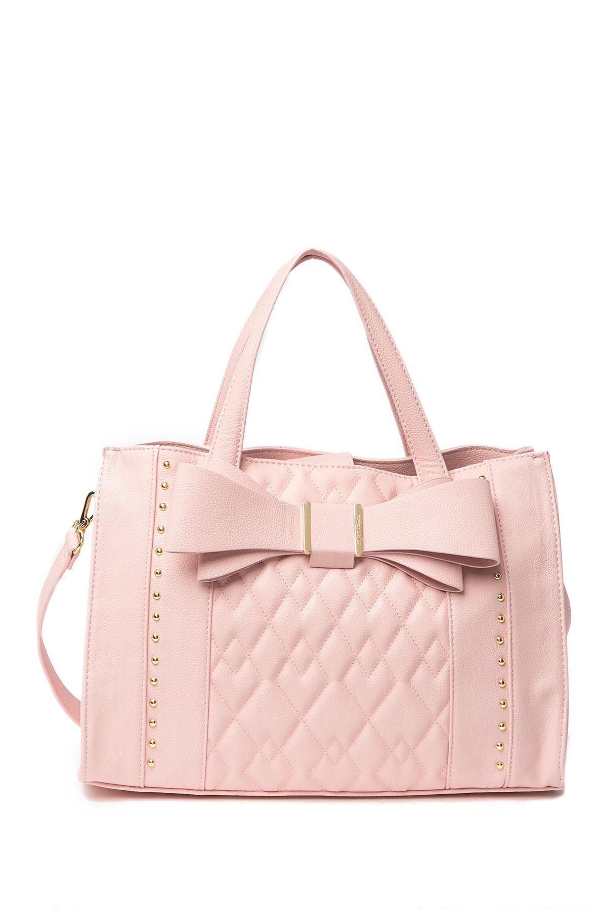 11468834c8 Lyst - Betsey Johnson Quilted Bow Satchel in Pink