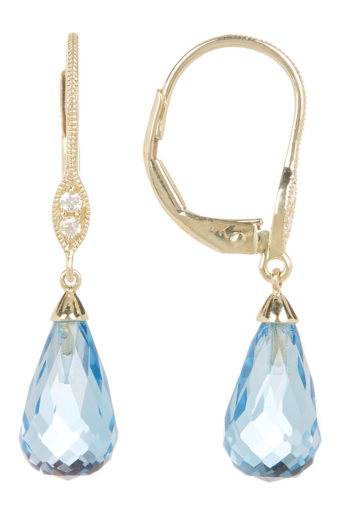 Lyst Meira T 14k Yellow Gold Diamond & Blue Crystal Drop Earrings