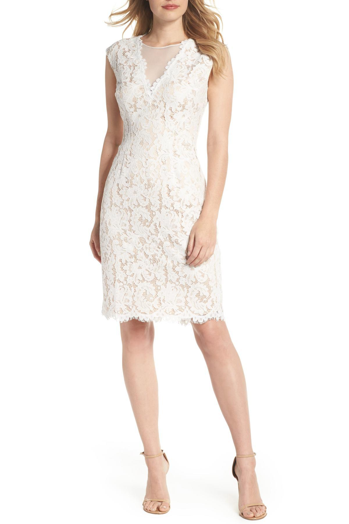 817d15aa1f9c65 Lyst - Vince Camuto Illusion Lace Sheath Dress in White - Save 36.0%