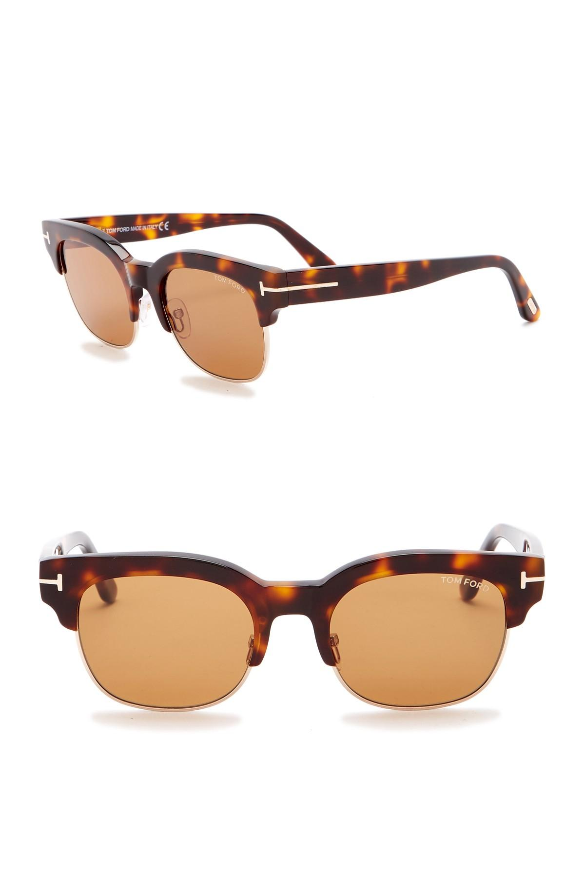 514a9d5c113 Lyst - Tom Ford Harry 51mm Clubmaster Sunglasses in Brown for Men