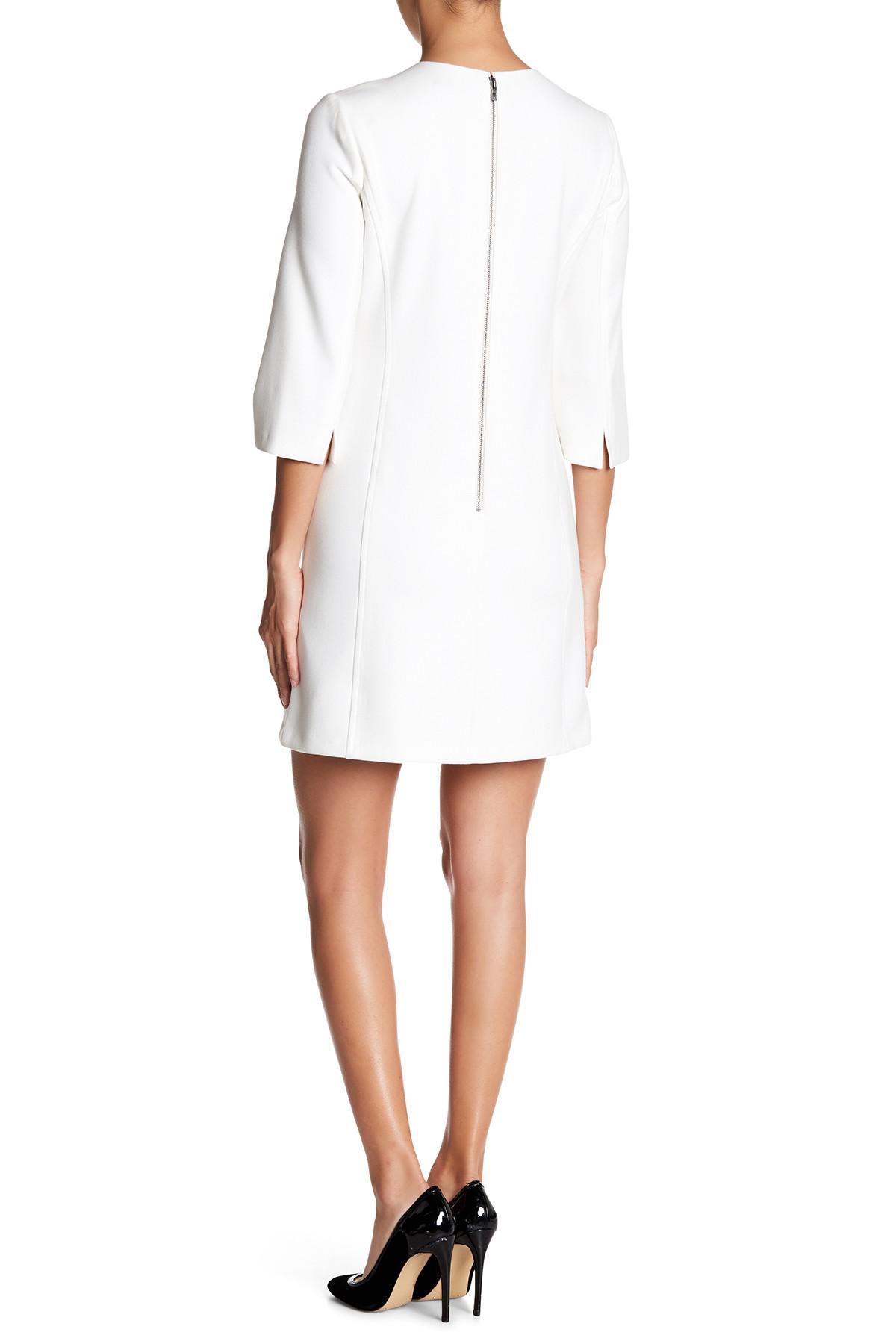 0541138c27b Lyst - Alice + Olivia Gem 3 4 Sleeve Shift Dress in White
