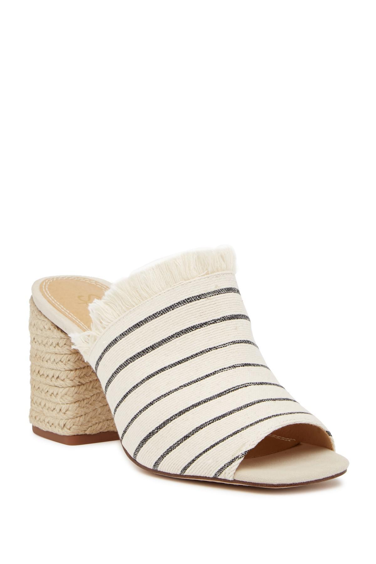 b443f6a02a5 Lyst - Splendid Baron Fringed Block Heel Slide in Natural