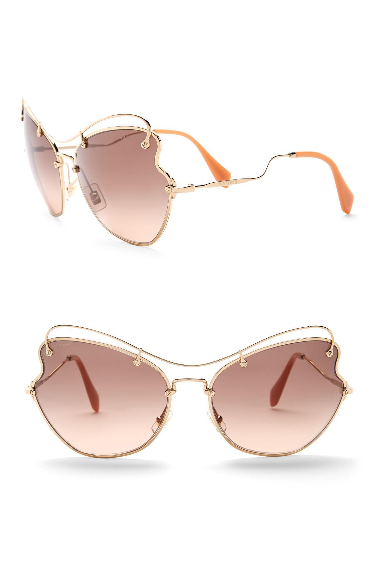 2811425a80 Miu Miu Butterfly 65mm Metal Frame Sunglasses in Brown - Lyst